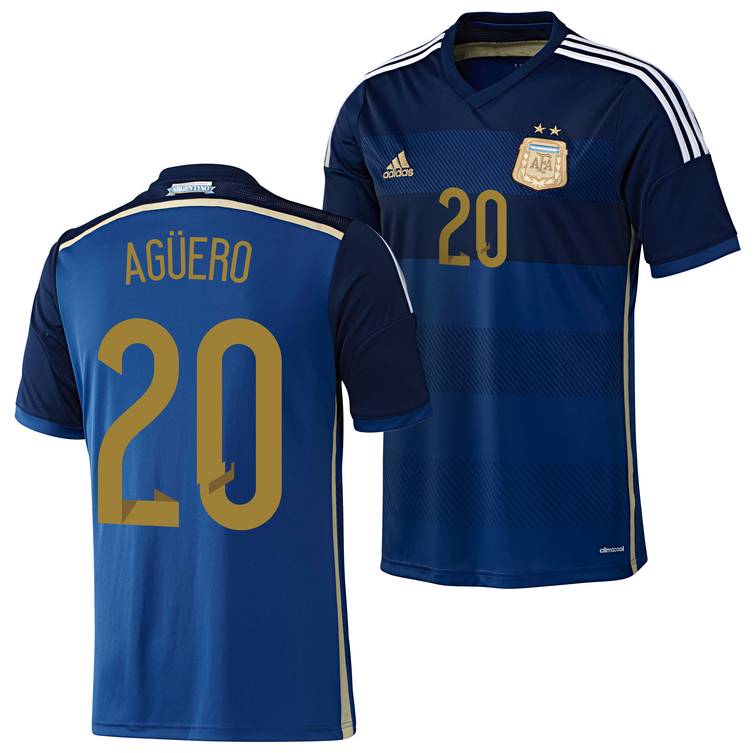 Argentina Away Shirt 2013/15 with Aguero 20 printing