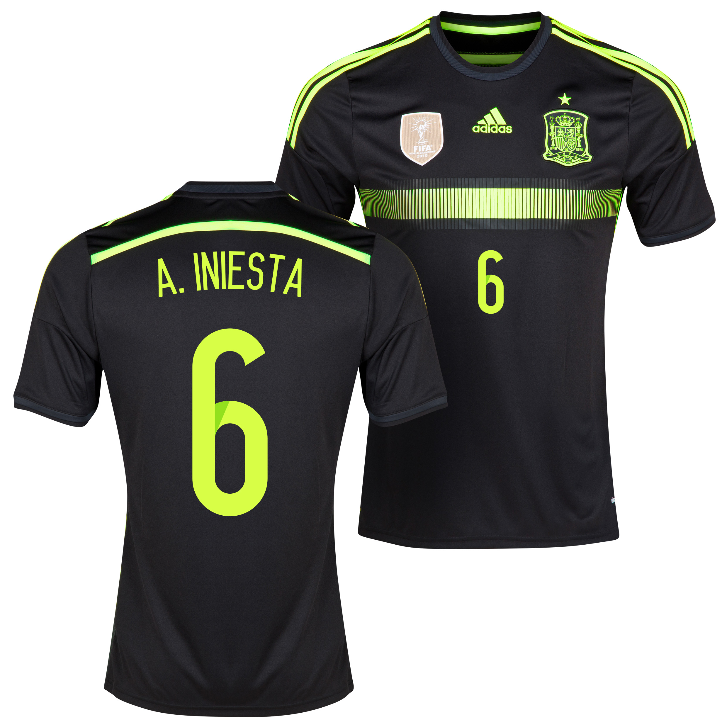 Spain Away Shirt 2013/15 with A.Iniesta 6 printing