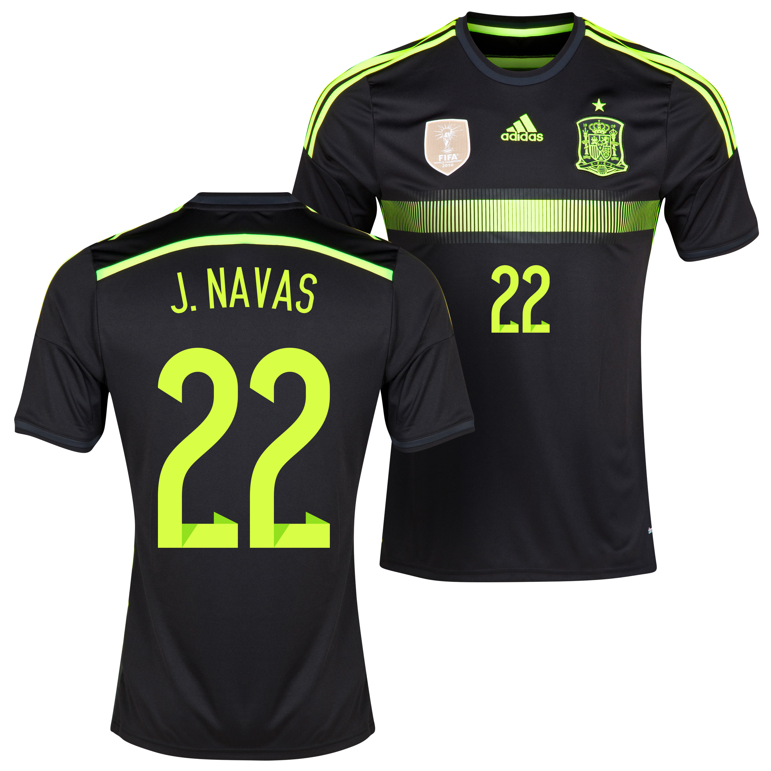 Spain Away Shirt 2013/15 with J. Navas 22 printing