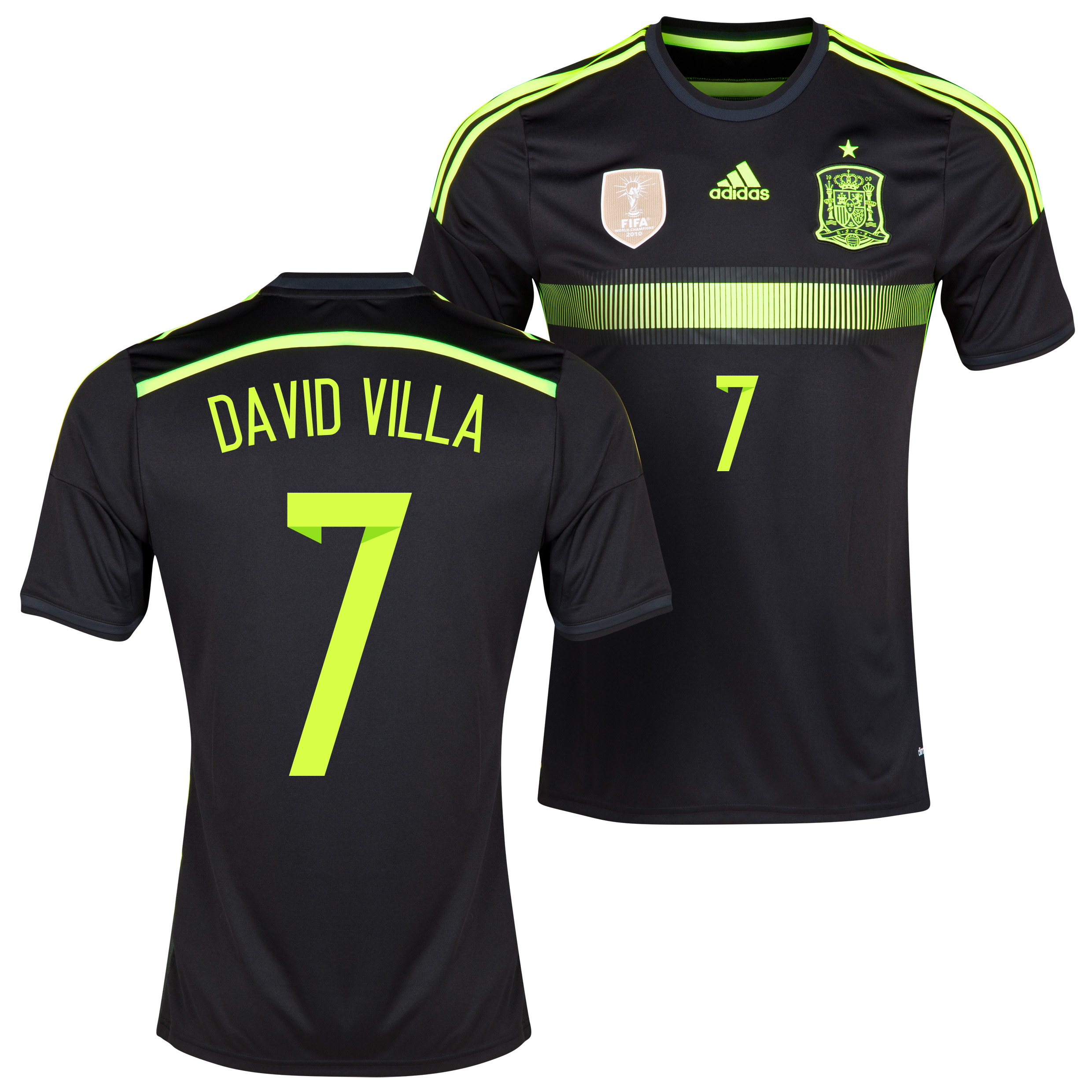 Spain Away Shirt 2013/15 - Kids with David Villa 7 printing