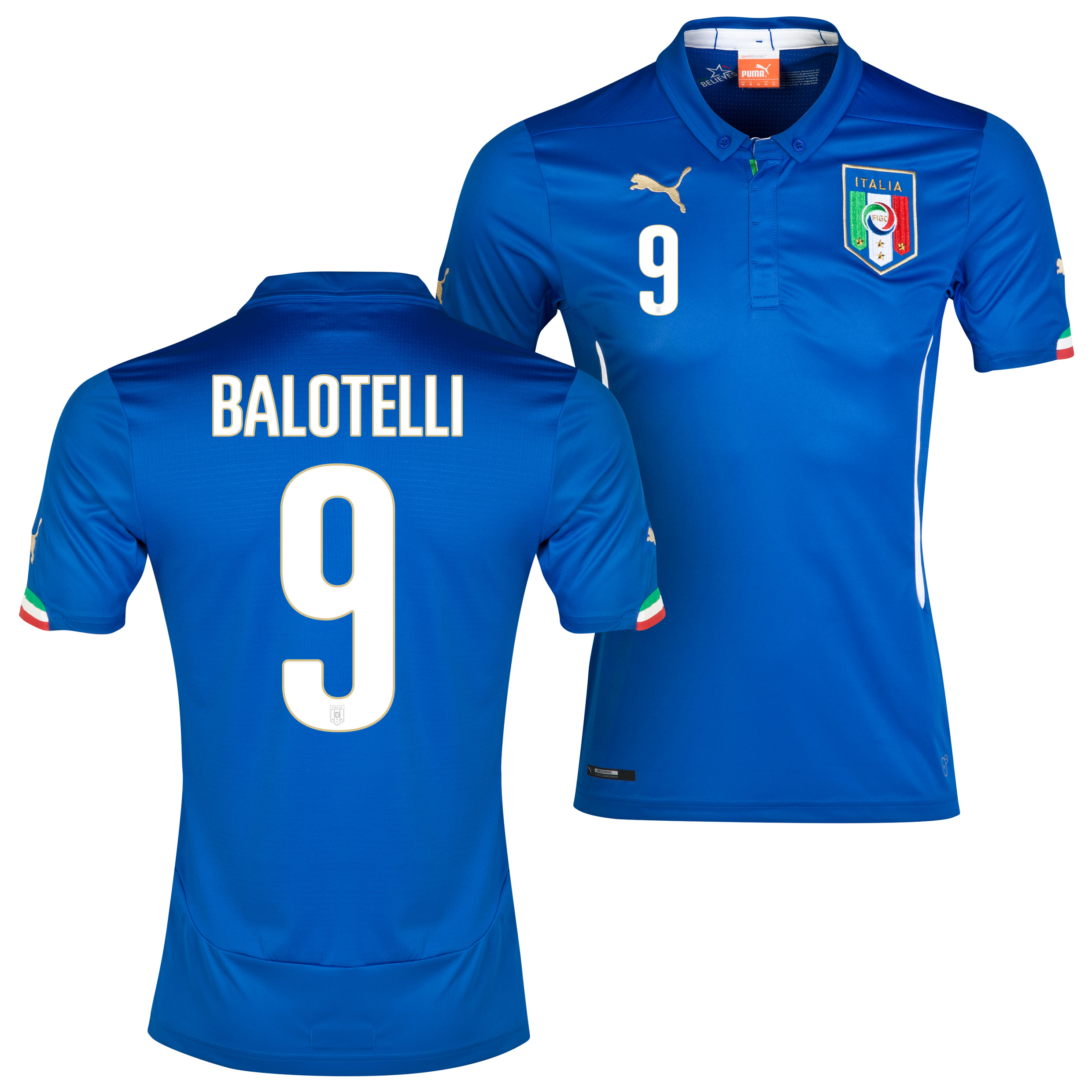 Italy Home Shirt 2013/14 with Balotelli 9 printing