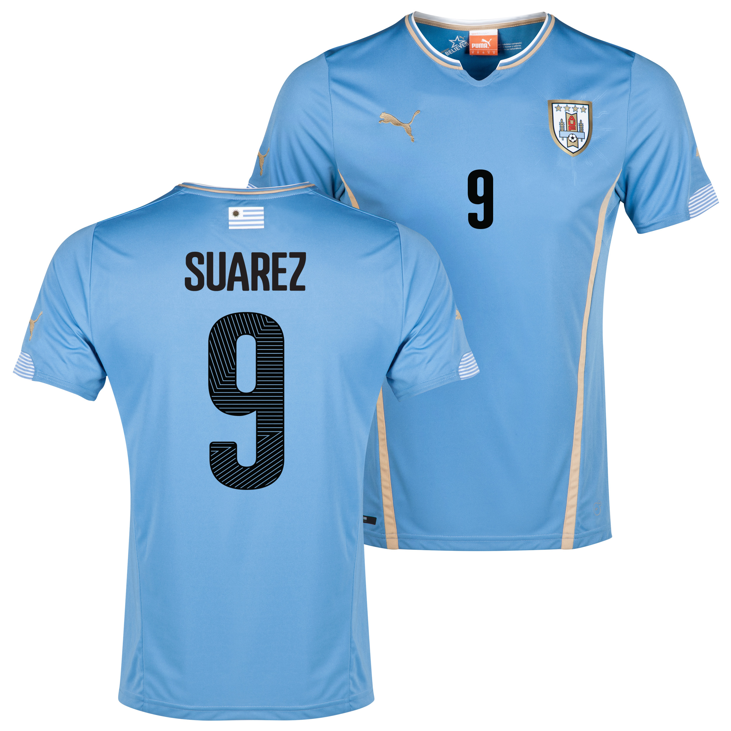 Uruguay Home Shirt 2013/14 with Suarez 9 printing