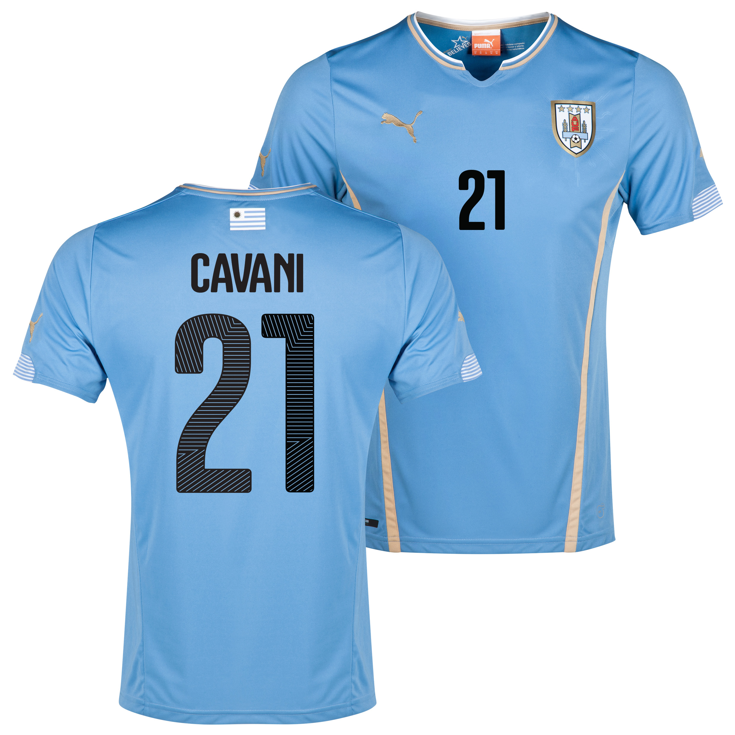Uruguay Home Shirt 2013/14 with Cavani 21 printing