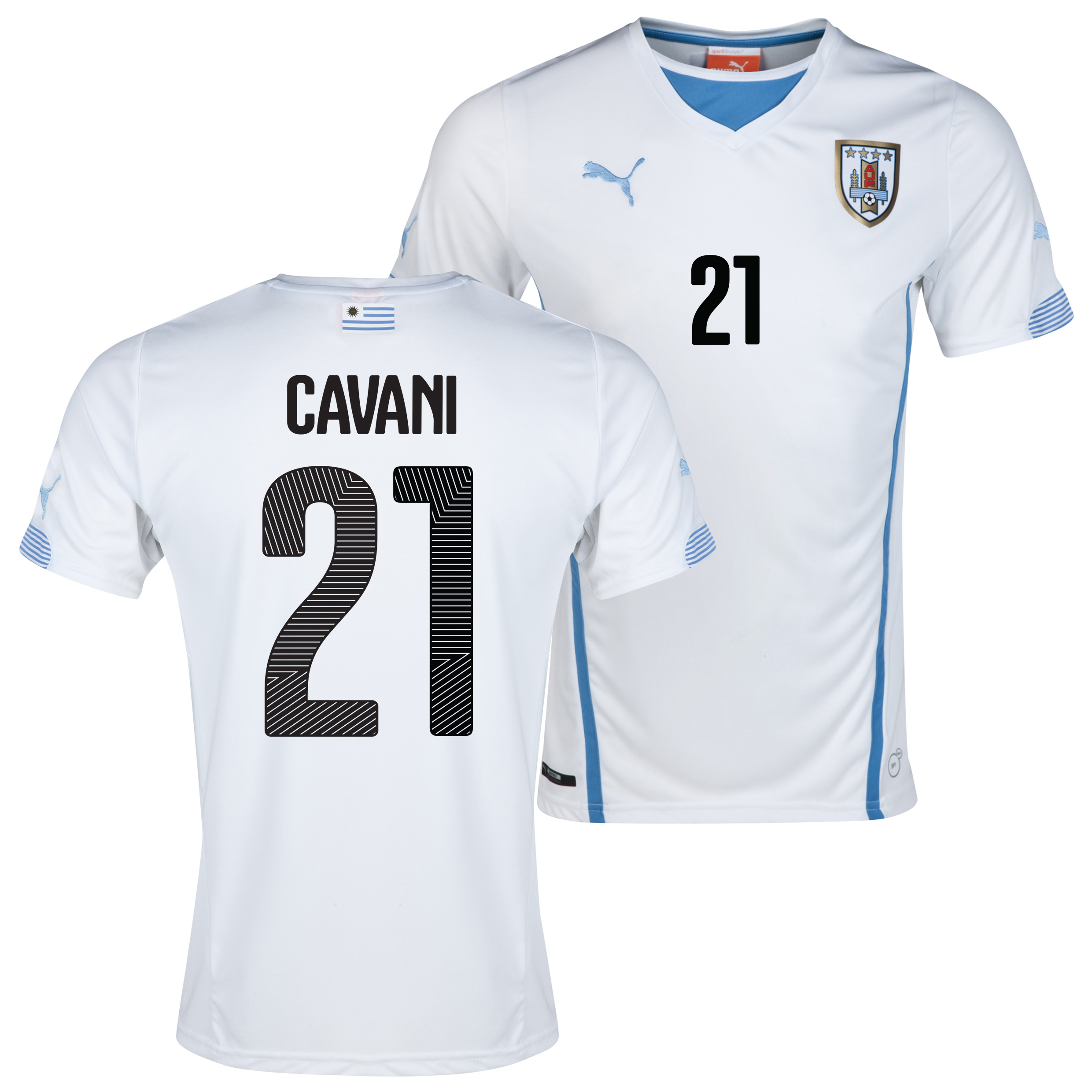 Uruguay Away Shirt 2013/14 with Cavani 21 printing