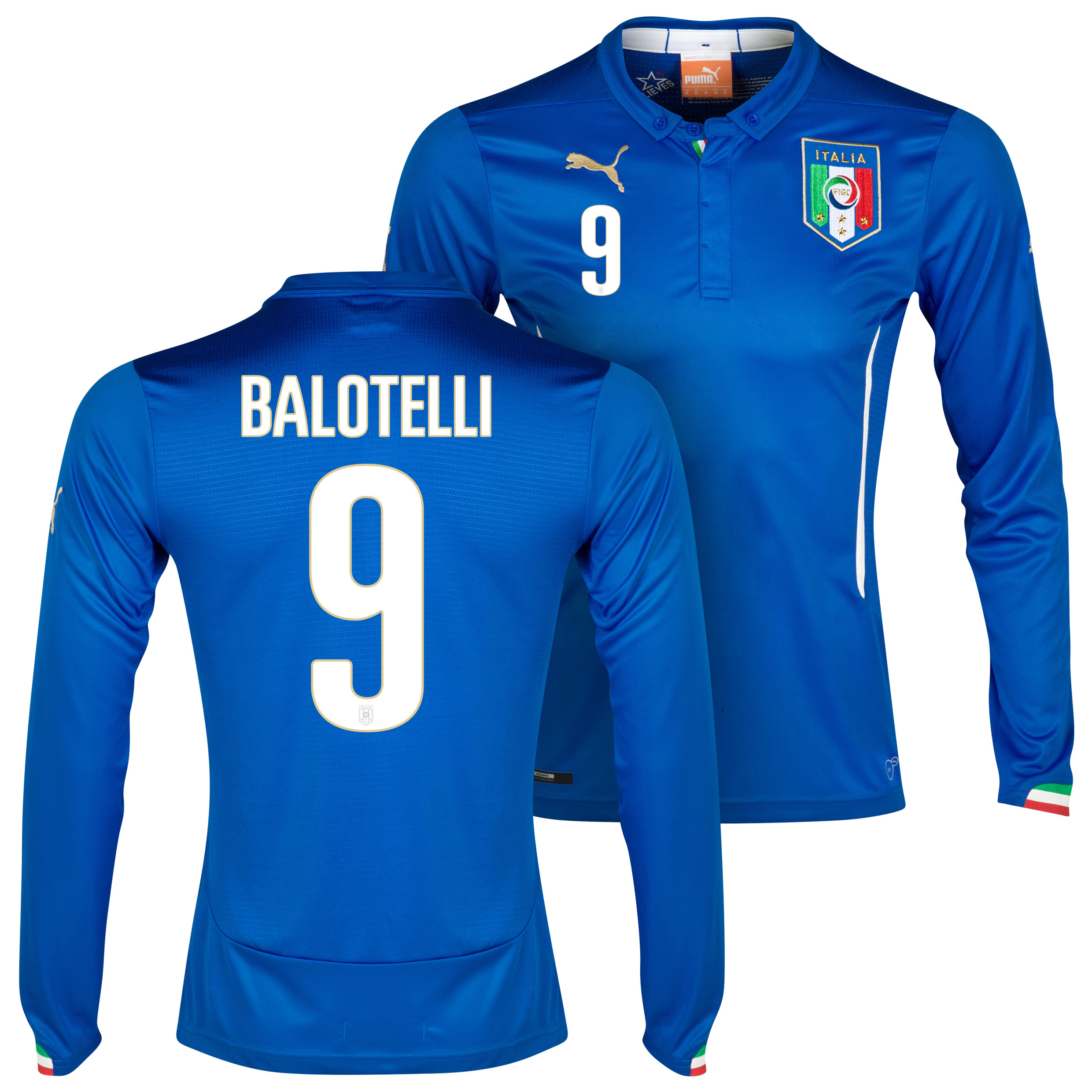 Italy Home Shirt 2013/14 - Long Sleeved with Balotelli 9 printing