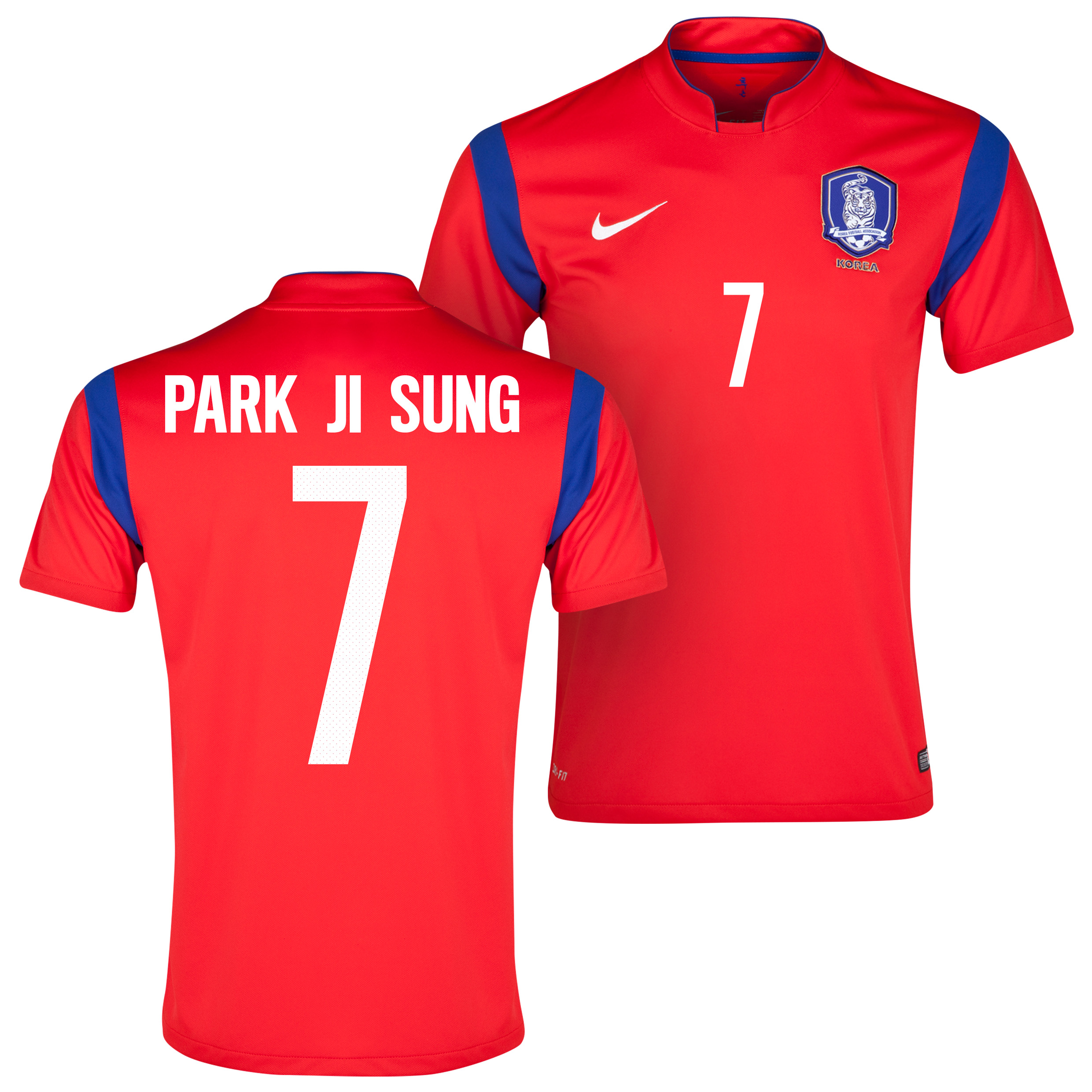 South Korea Home Shirt 2013/15 Red with Park Ji Sung 7 printing