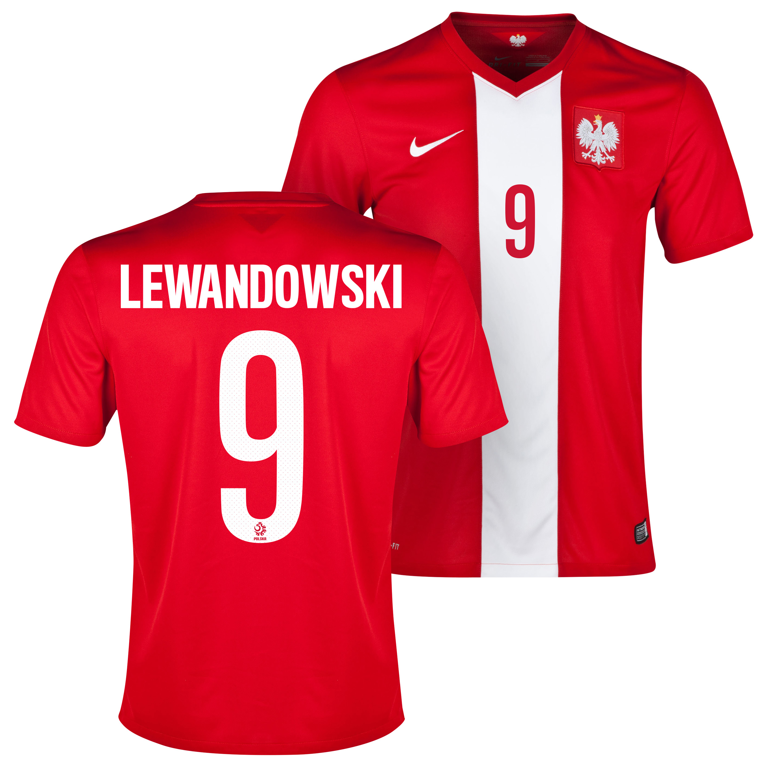 Poland Away Shirt 2014/15 Red with Lewandowski 9 printing