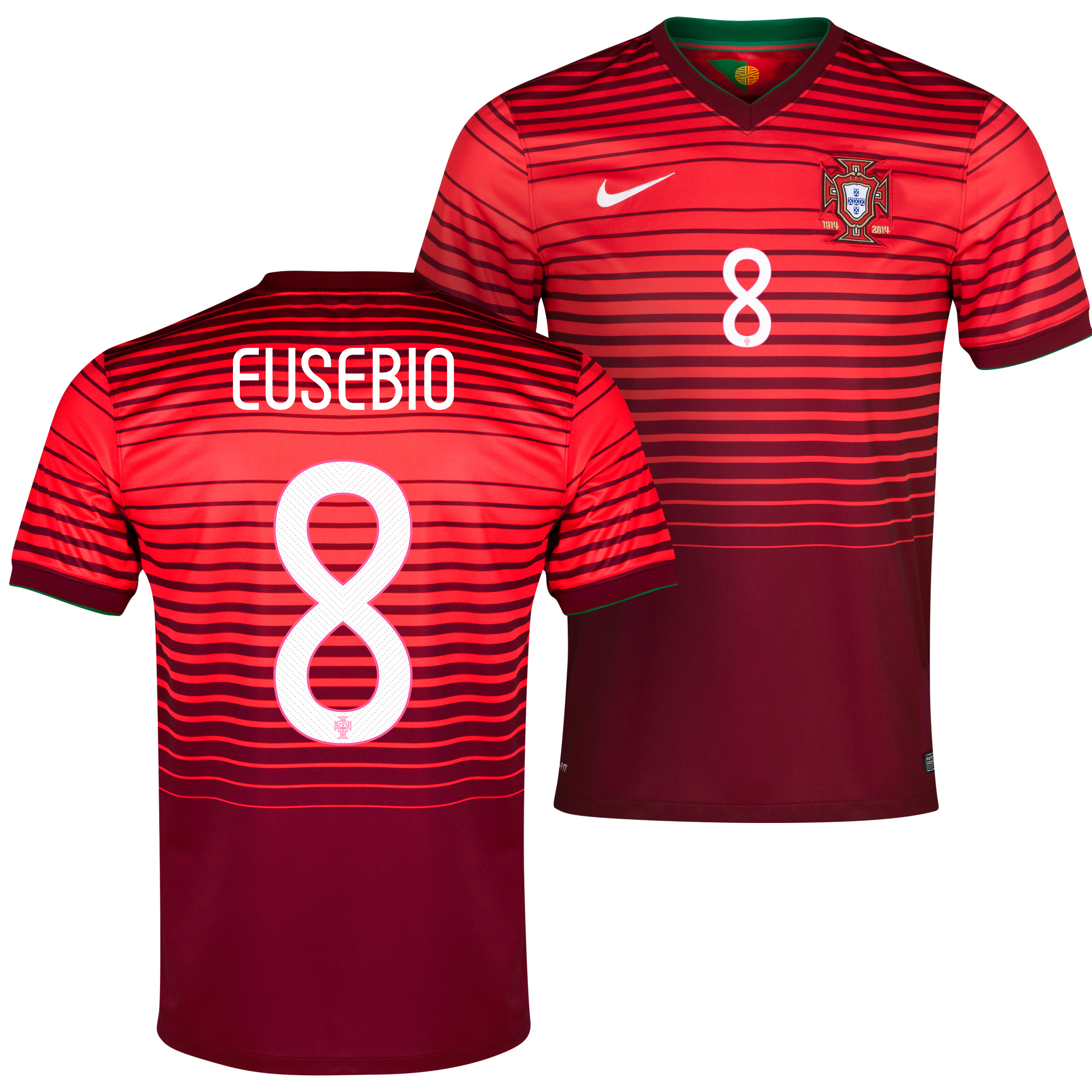 Portugal Home Shirt 2013/15 Red with Eusebio 8 printing