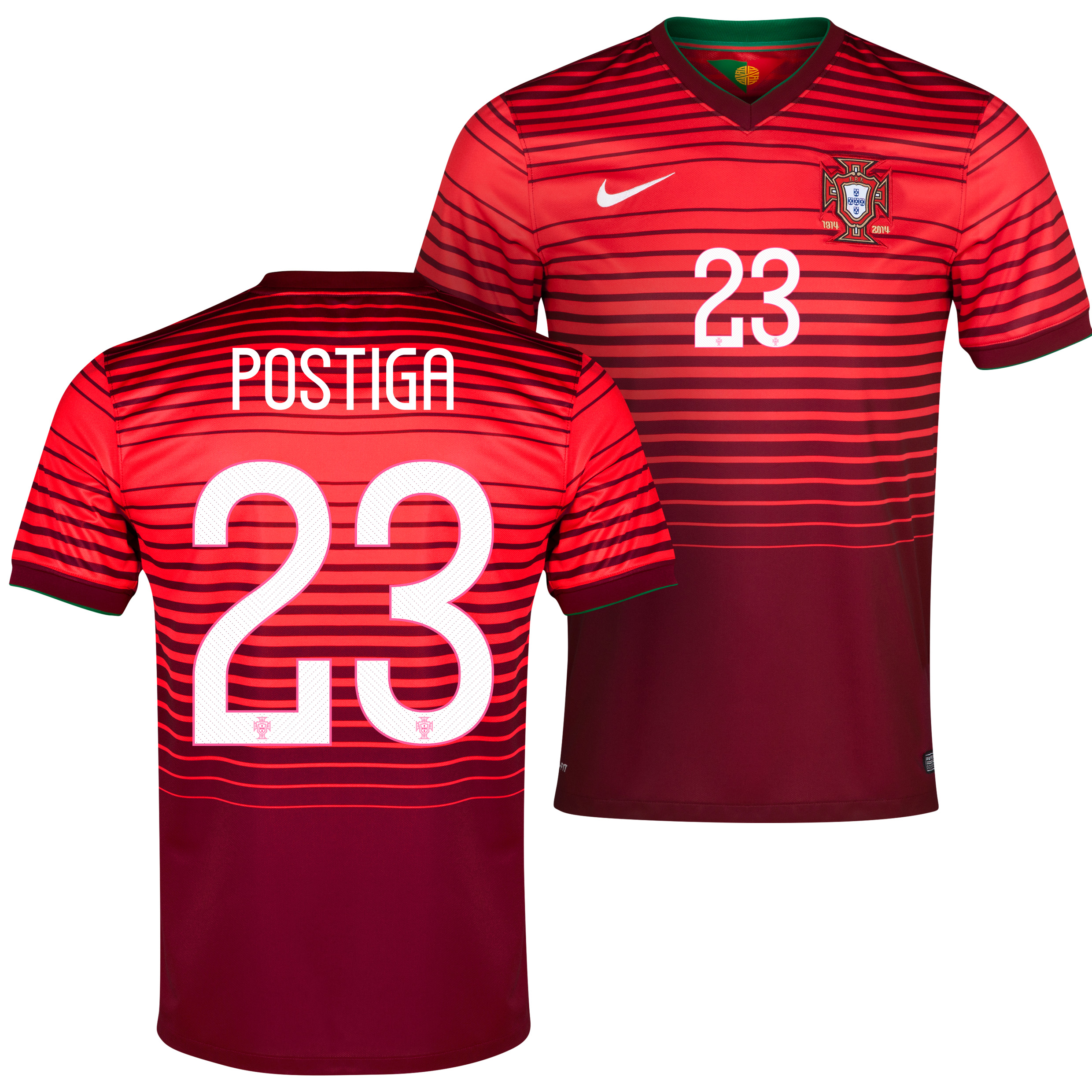 Portugal Home Shirt 2013/15 Red with Postiga 23 printing