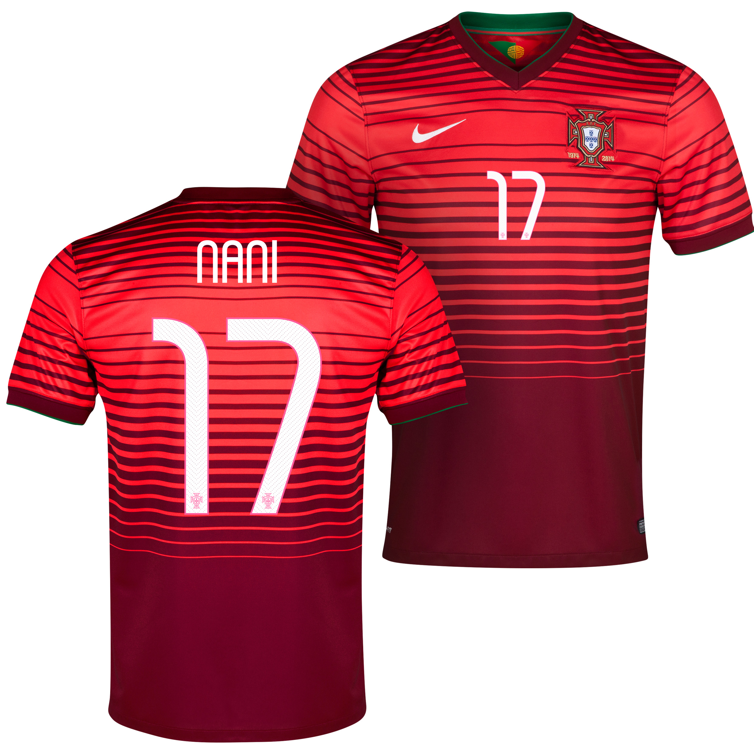 Portugal Home Shirt 2013/15 - Kids Red with Nani 17 printing