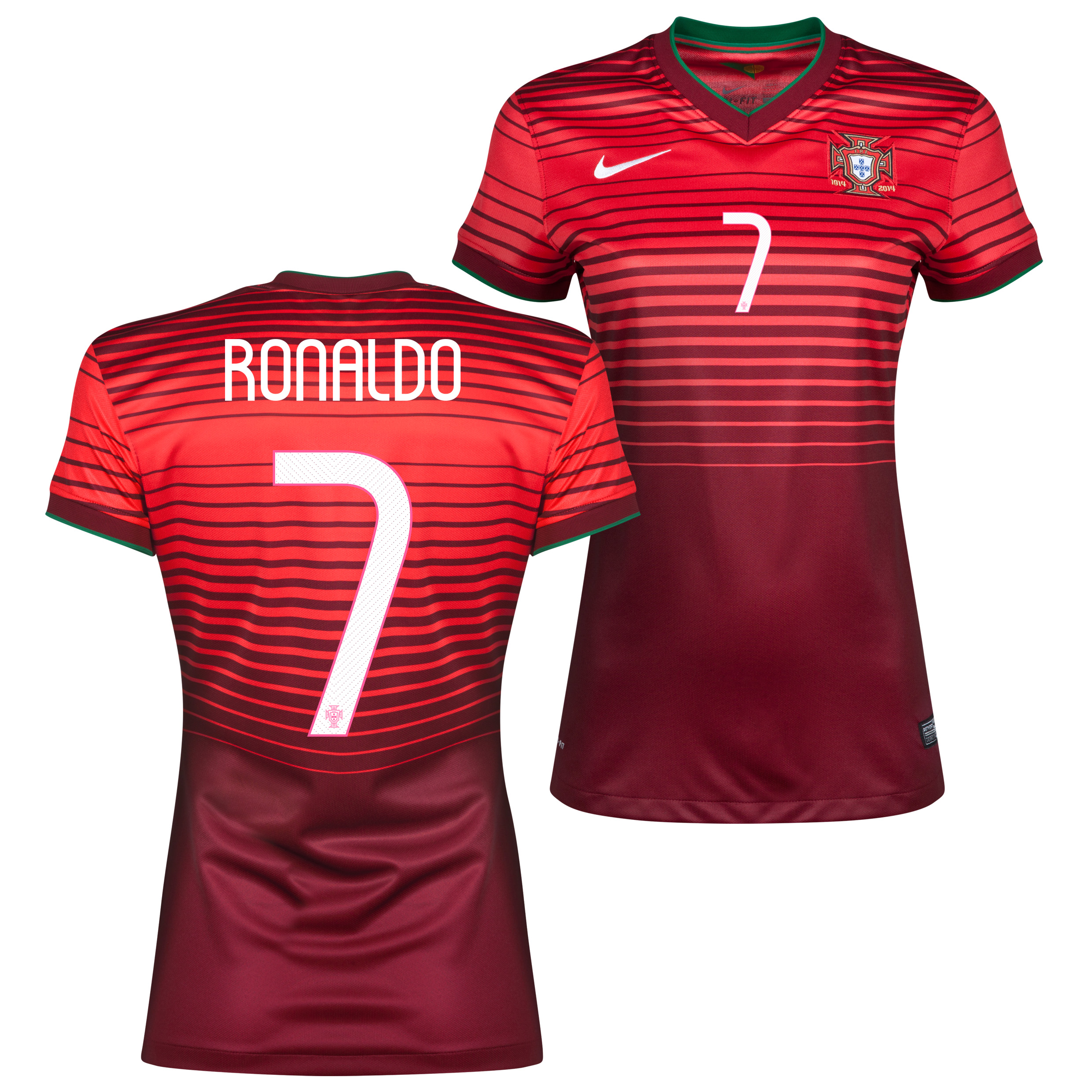 Portugal Home Shirt 2013/15 - Womens Red with Ronaldo 7 printing