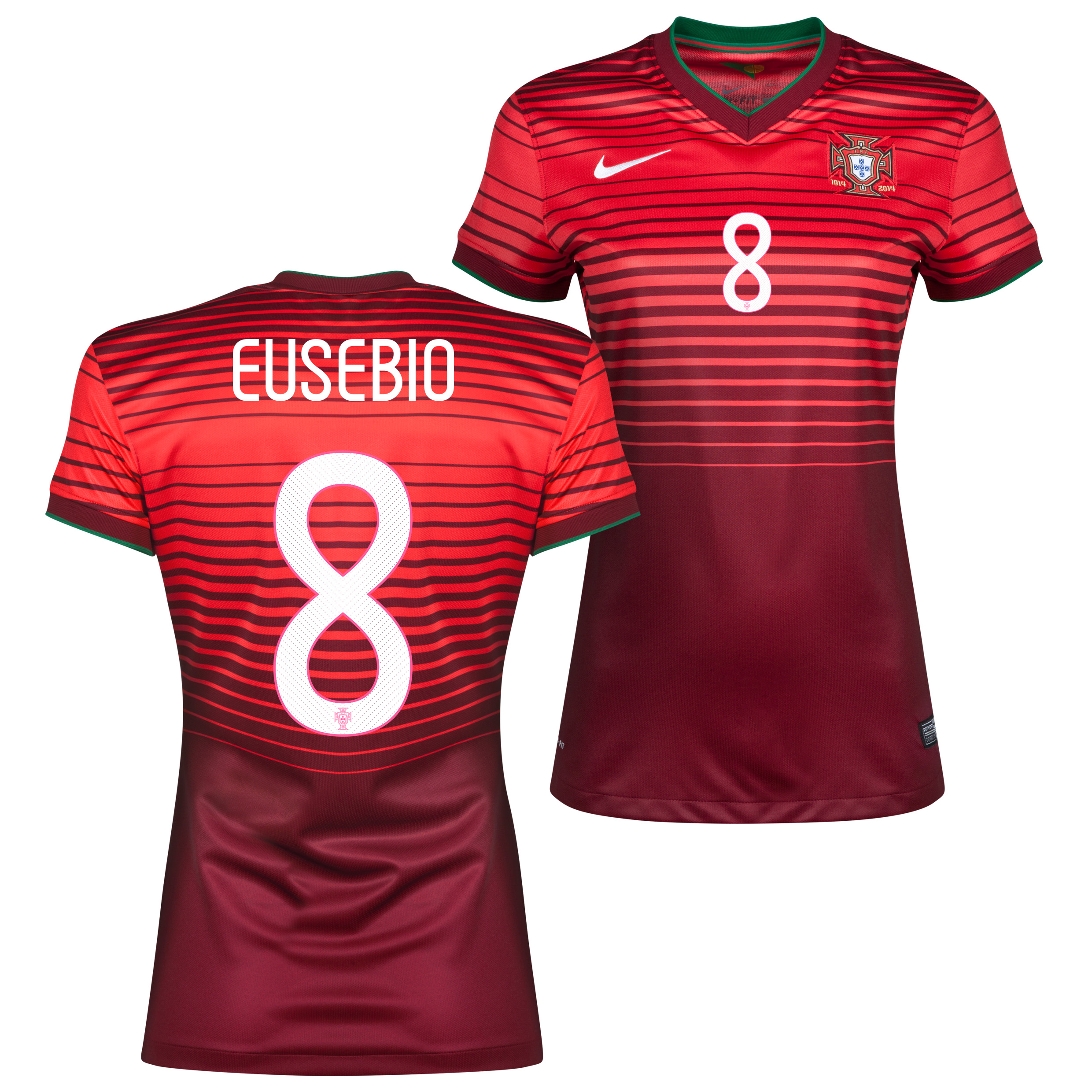Portugal Home Shirt 2013/15 - Womens Red with Eusebio 8 printing