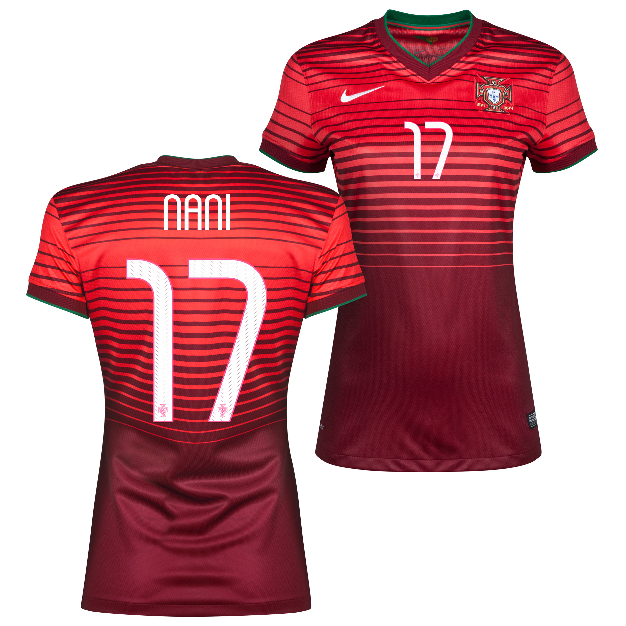 Portugal Home Shirt 2013/15 - Womens Red with Nani 17 printing