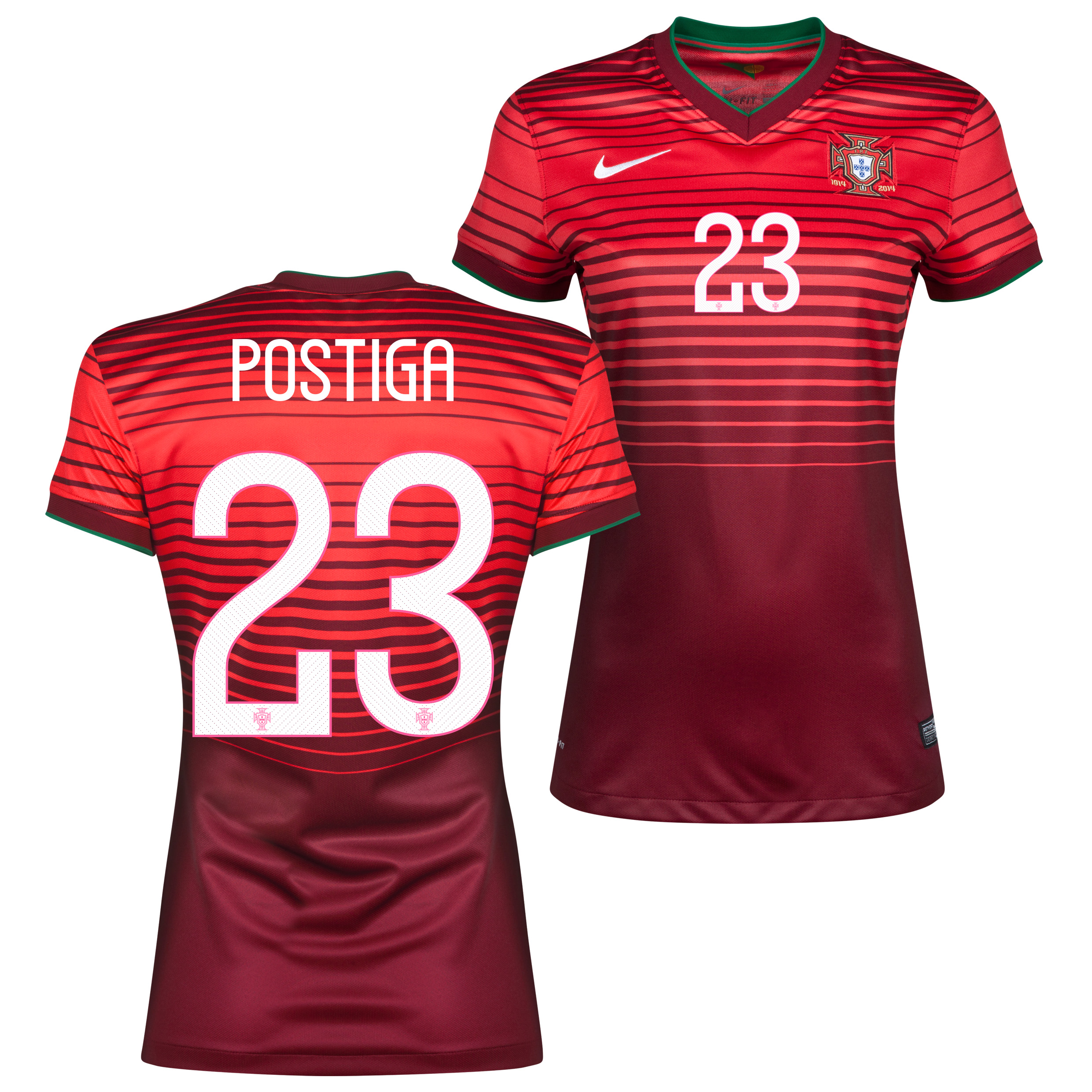 Portugal Home Shirt 2013/15 - Womens Red with Postiga 23 printing
