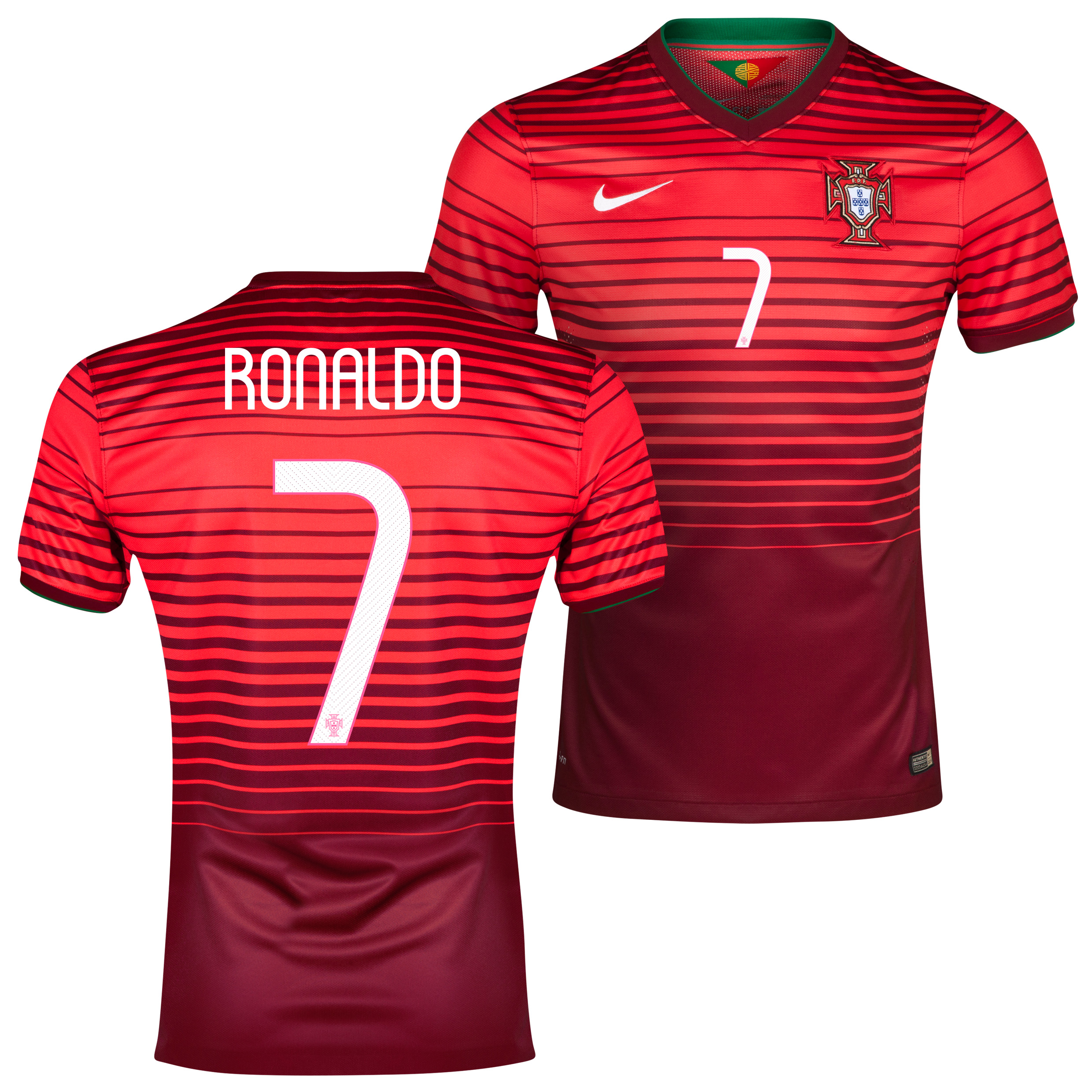 Portugal Match Home Shirt 2013/15 Red with Ronaldo 7 printing