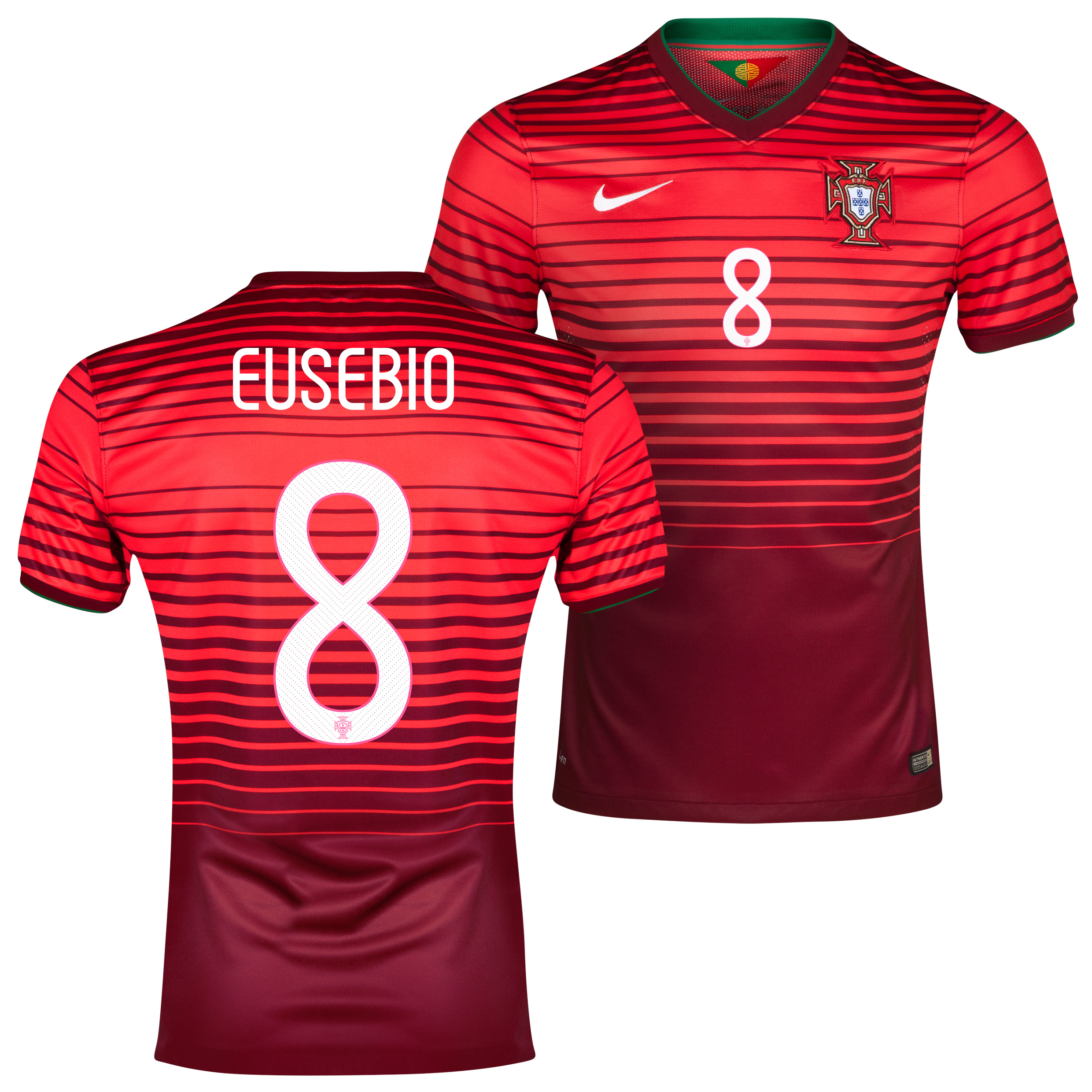 Portugal Match Home Shirt 2013/15 Red with Eusebio 8 printing