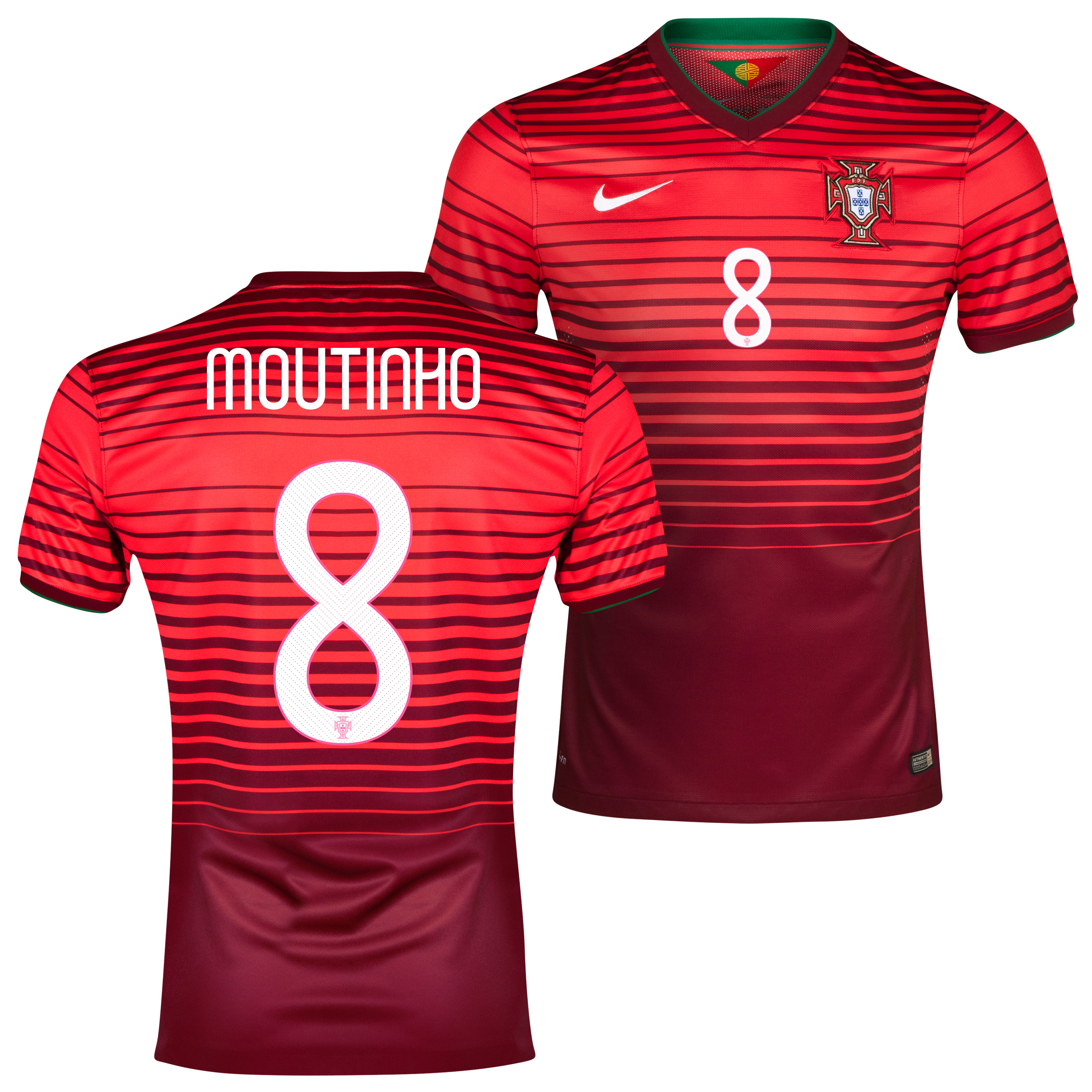 Portugal Match Home Shirt 2013/15 Red with Moutinho 8 printing
