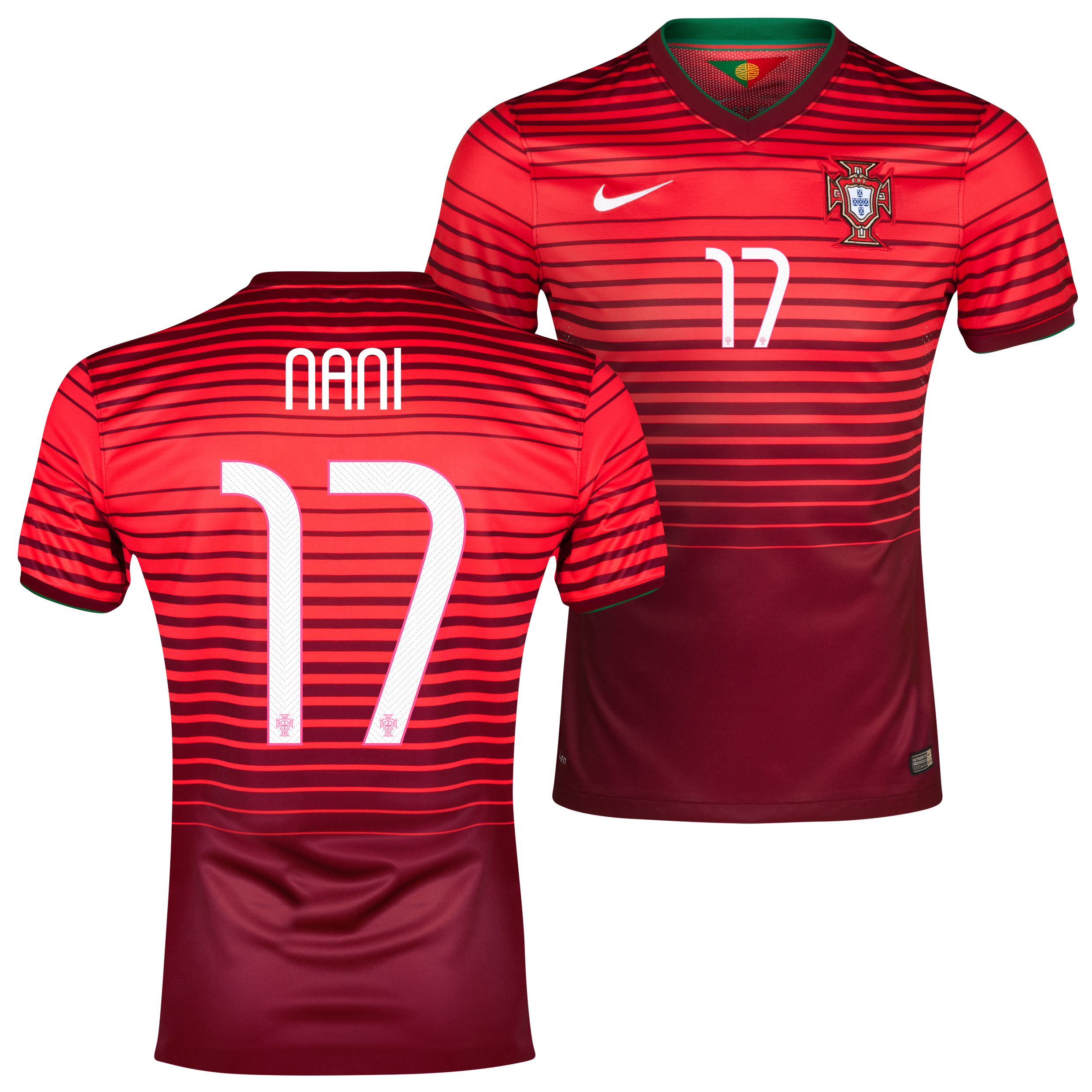 Portugal Match Home Shirt 2013/15 Red with Nani 17 printing