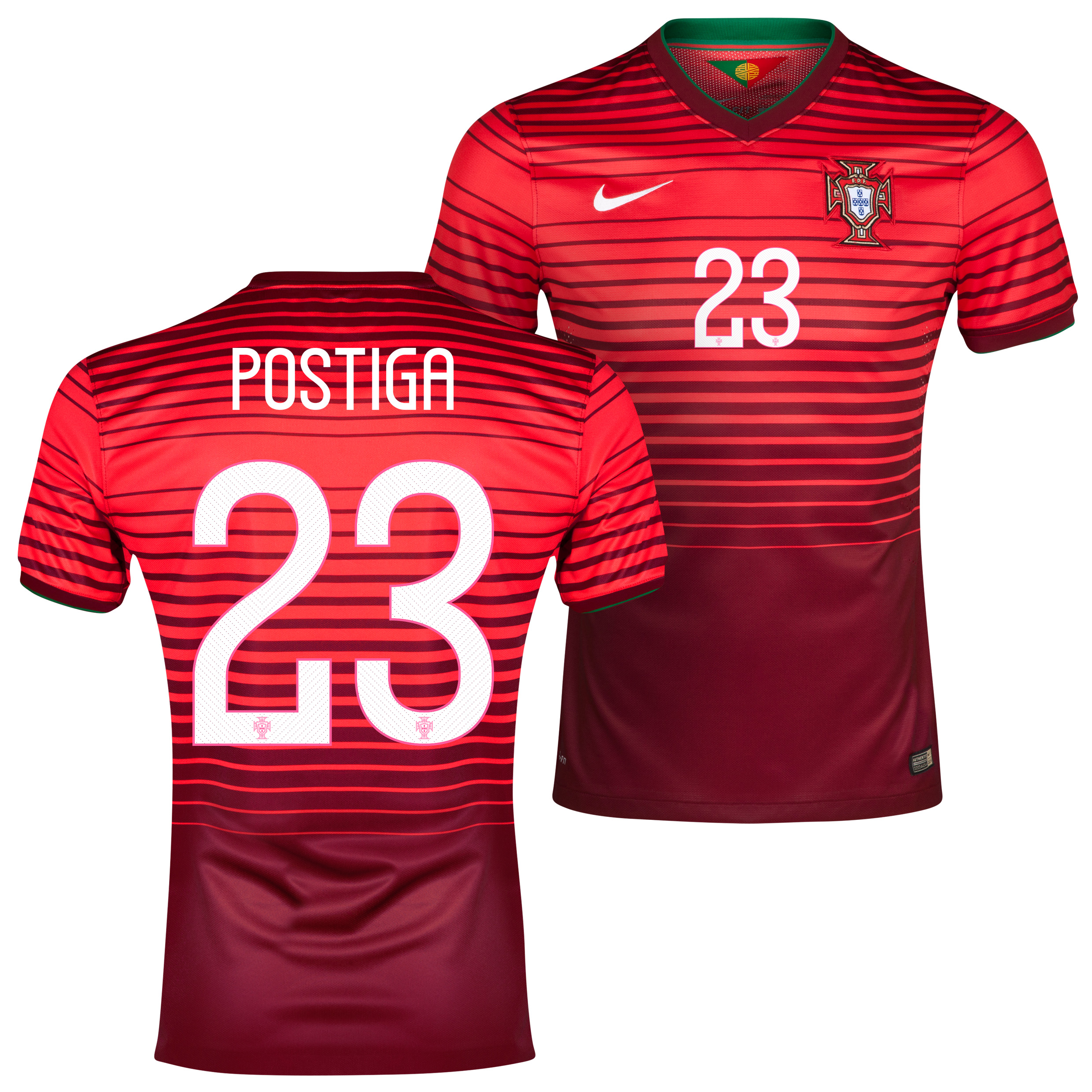 Portugal Match Home Shirt 2013/15 Red with Postiga 23 printing