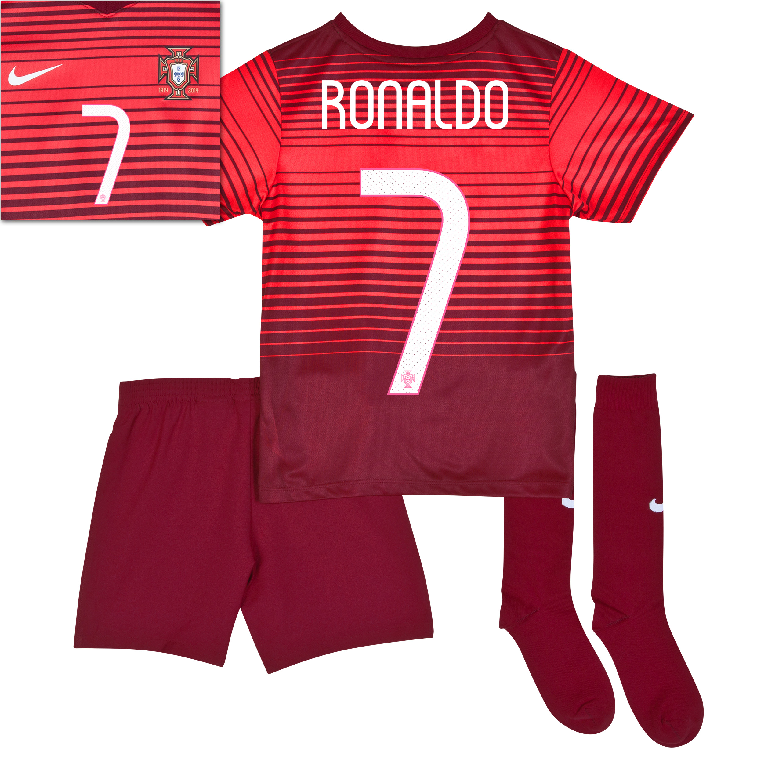 Portugal Home Kit 2013/15 - Little Boys Red with Ronaldo 7 printing
