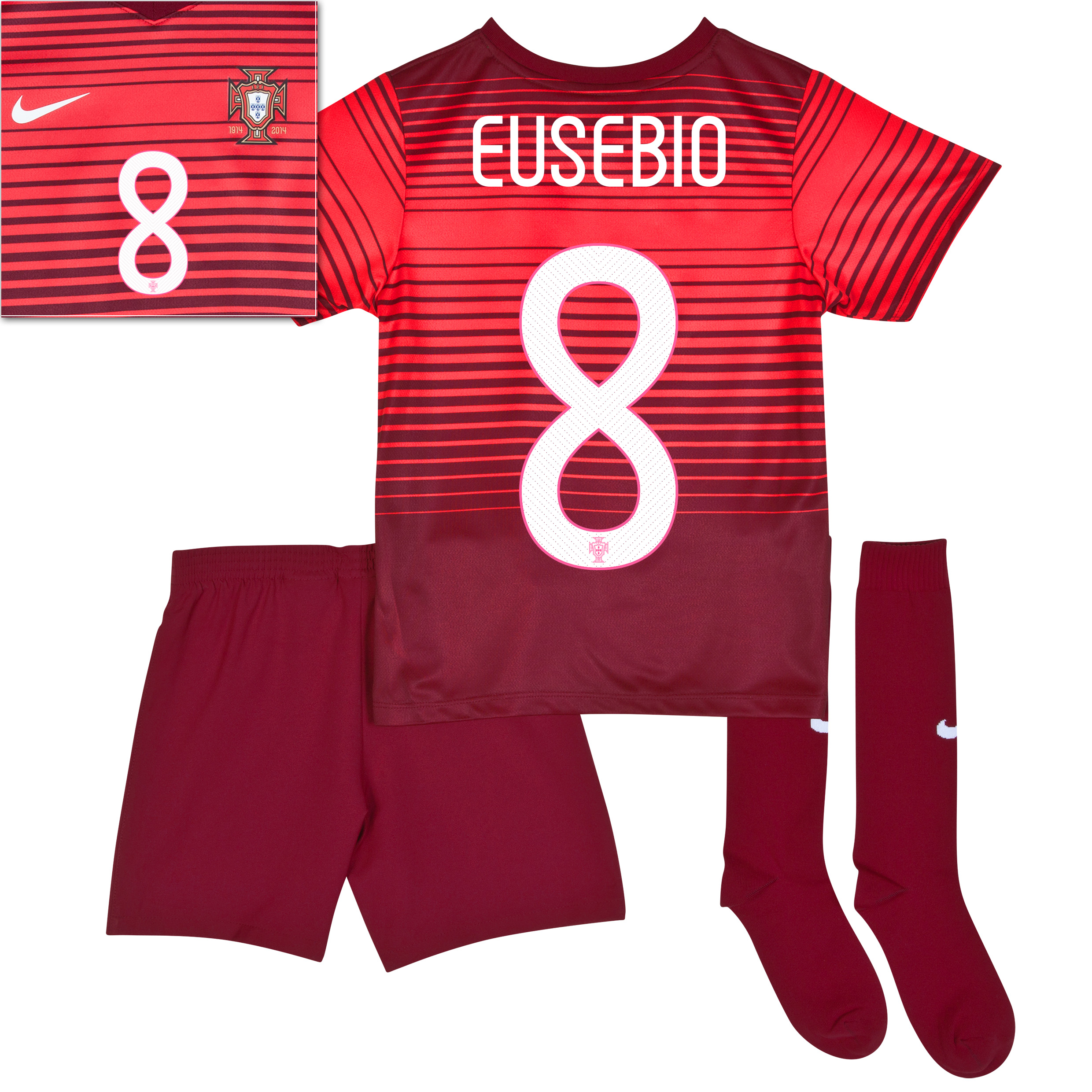 Portugal Home Kit 2013/15 - Little Boys Red with Eusebio 8 printing