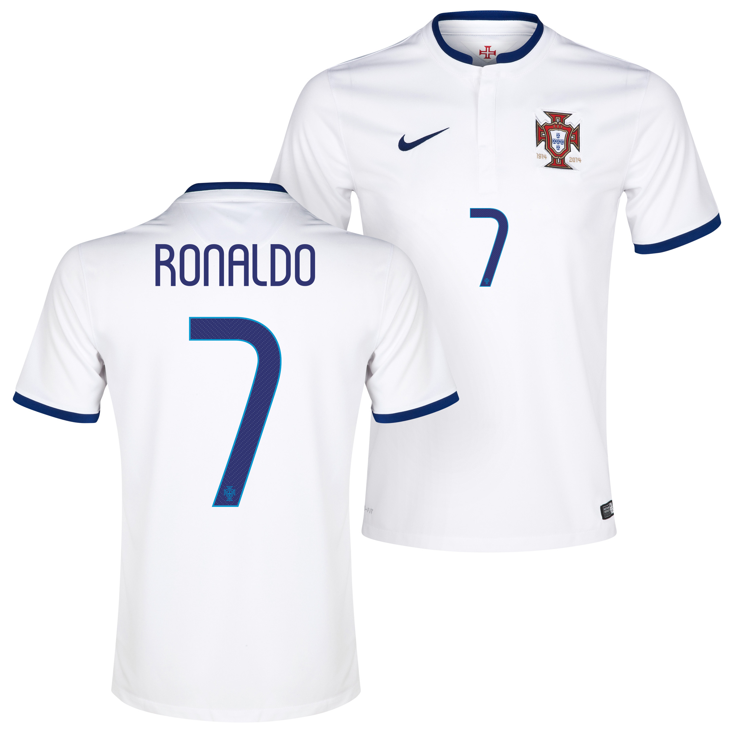 Portugal Away Shirt 2014/15 White with Ronaldo 7 printing