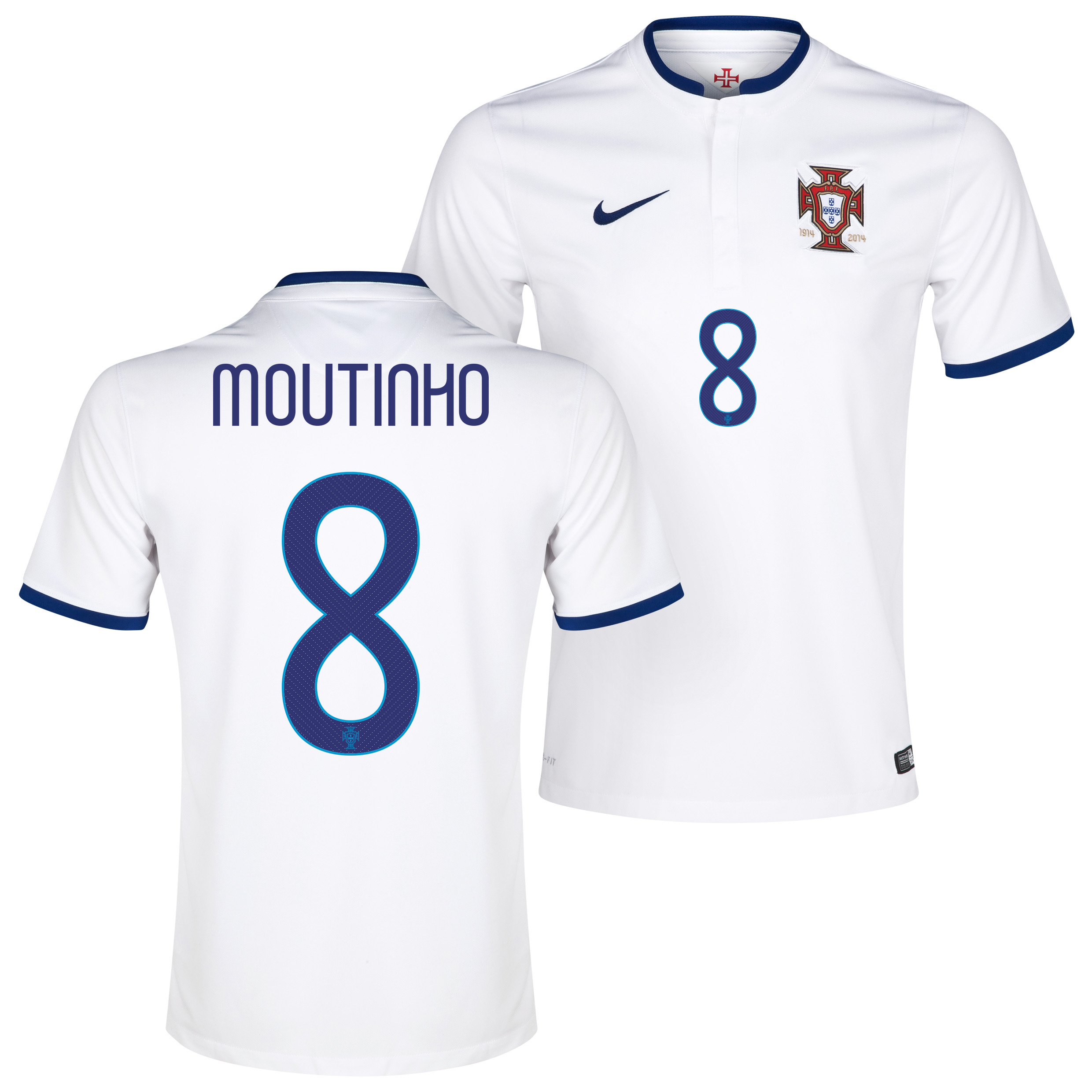 Portugal Away Shirt 2014/15 White with Moutinho 8 printing