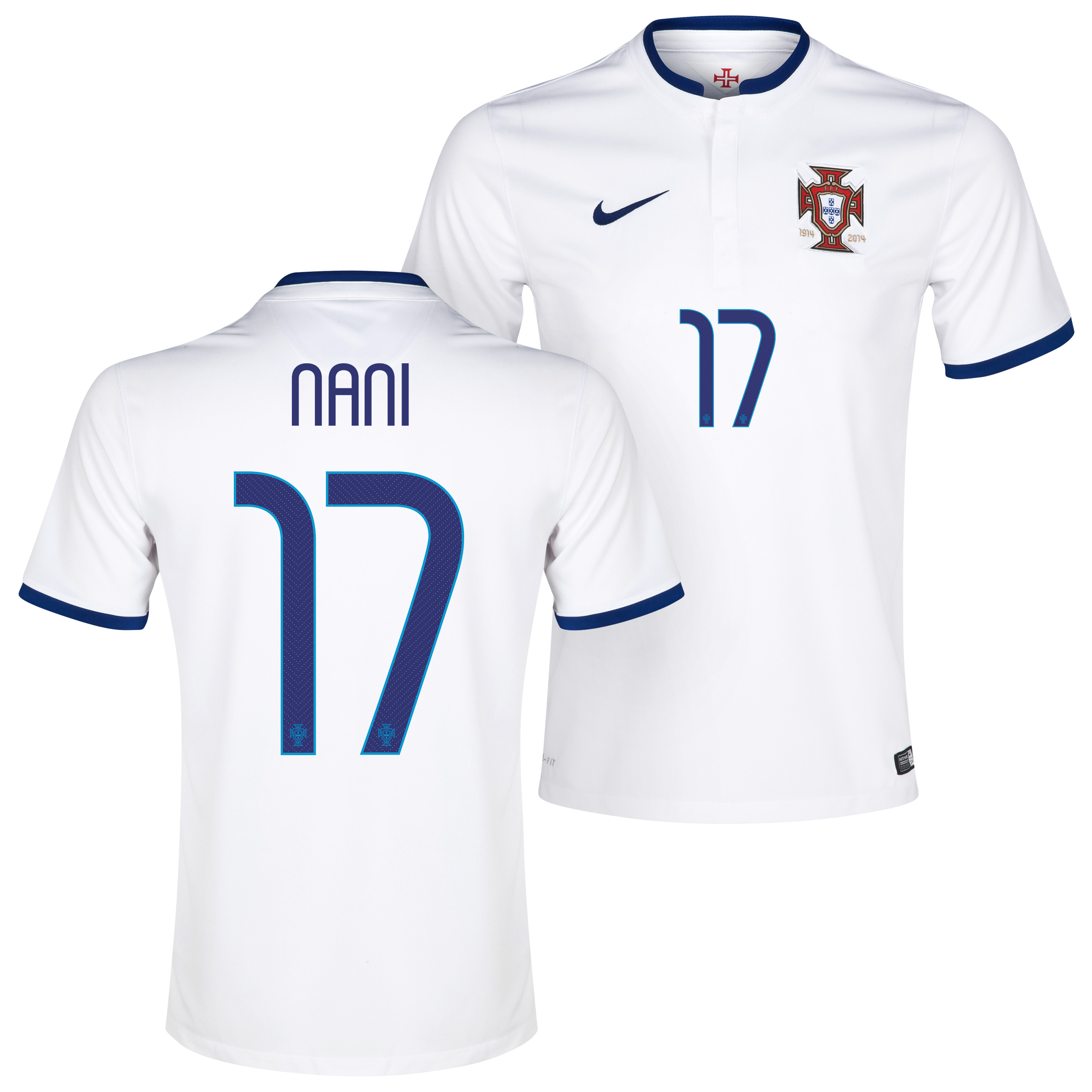 Portugal Away Shirt 2014/15 White with Nani 17 printing