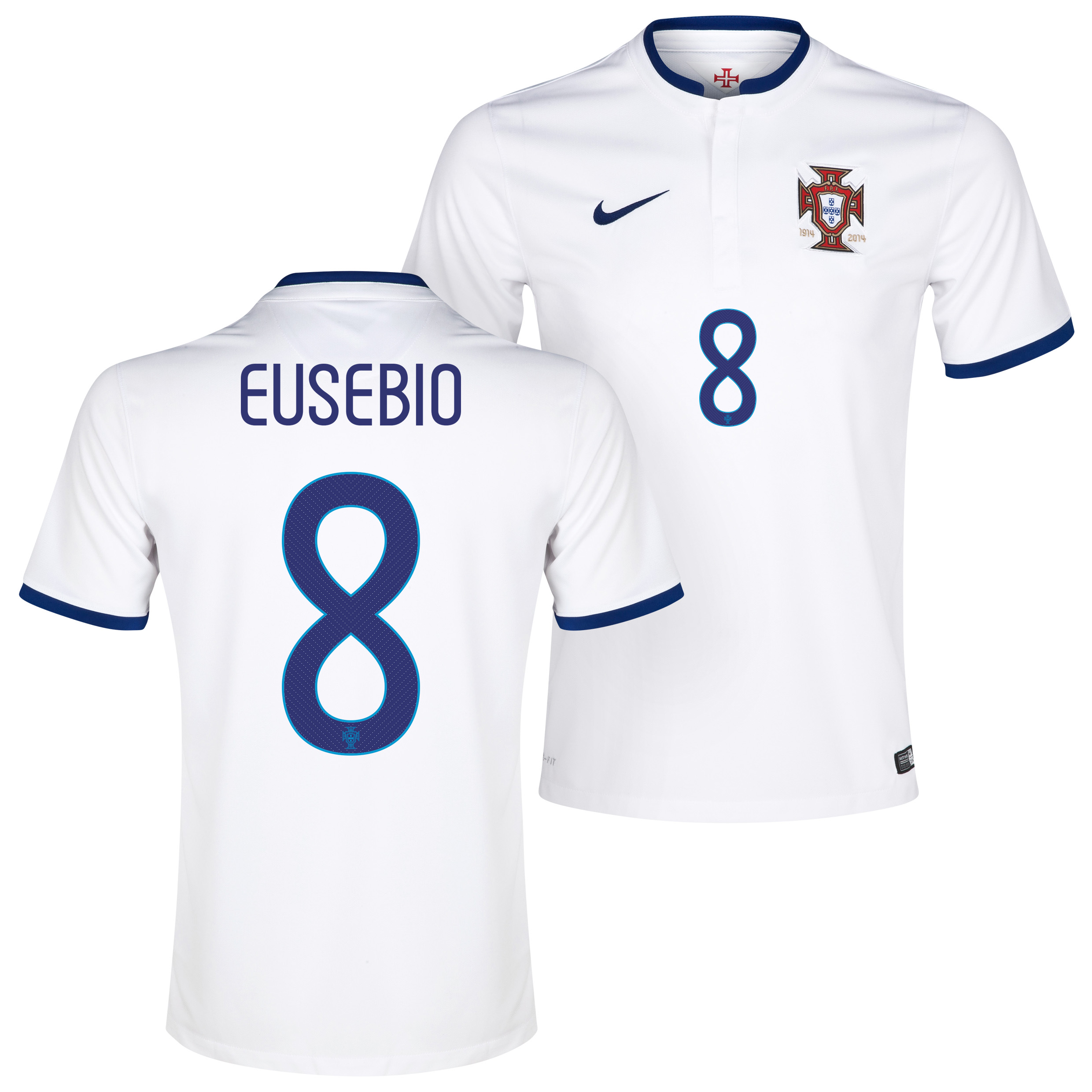 Portugal Away Shirt 2014/15 - Kids White with Eusebio 8 printing