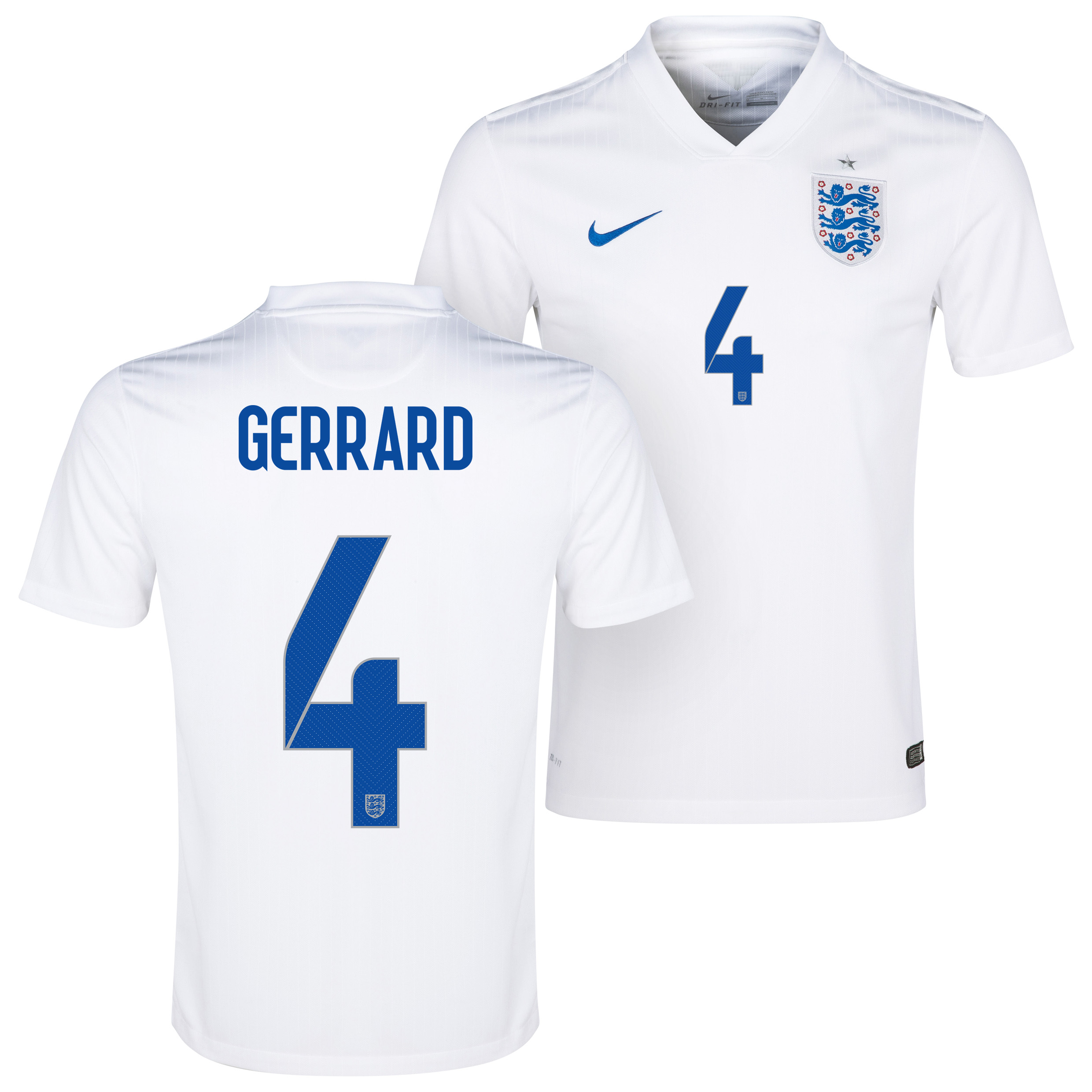 England Home Shirt 2014/15 White with Gerrard 4 printing