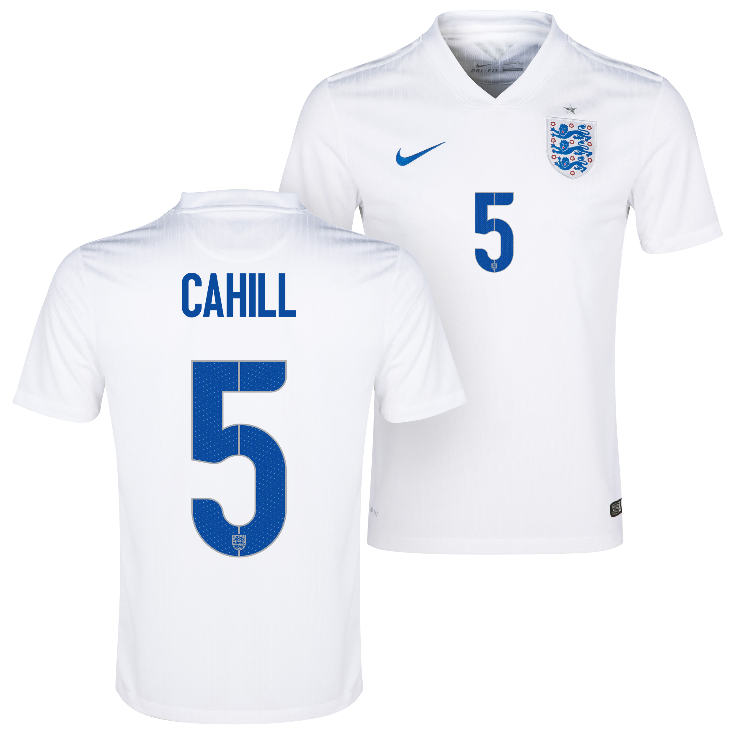 England Home Shirt 2014/15 White with Cahill 5 printing