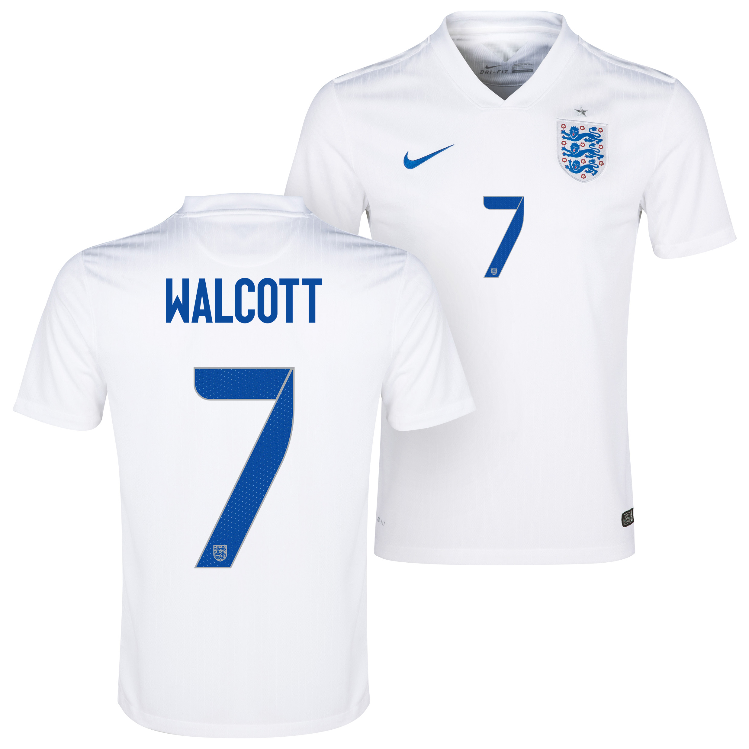 England Home Shirt 2014/15 White with Walcott 7 printing