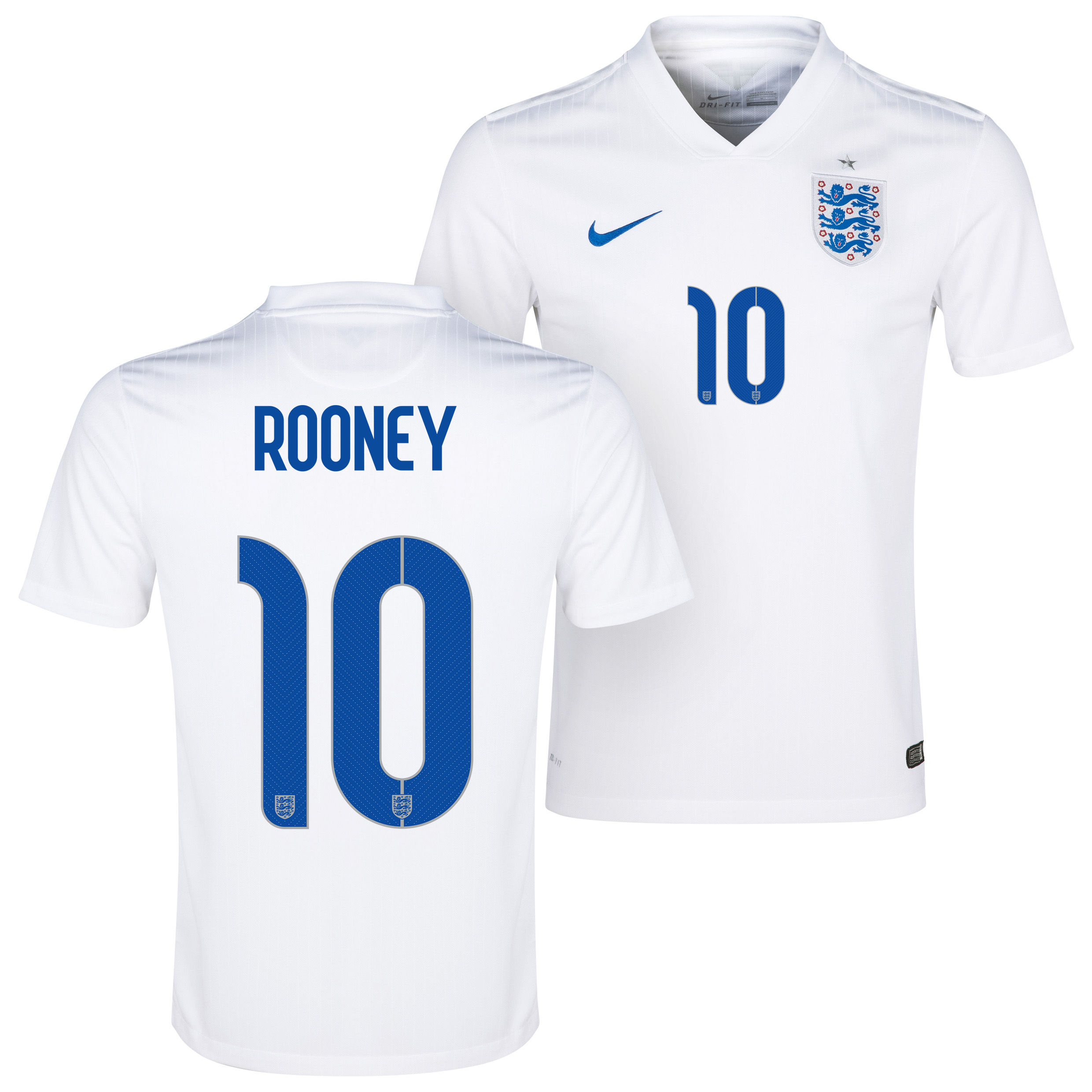 England Home Shirt 2014/15 White with Rooney 10 printing