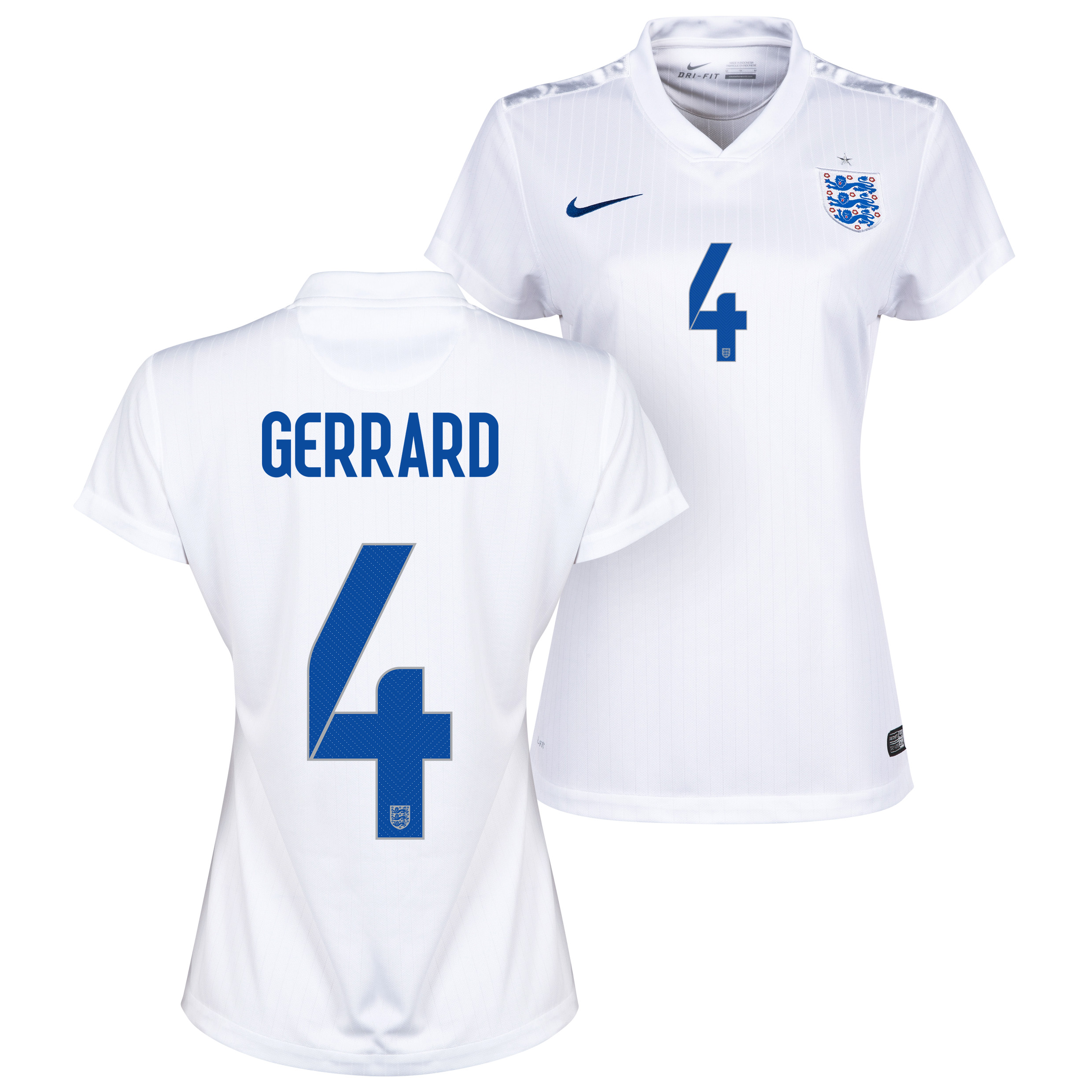 England Home Shirt 2014/15 - Womens White with Gerrard 4 printing