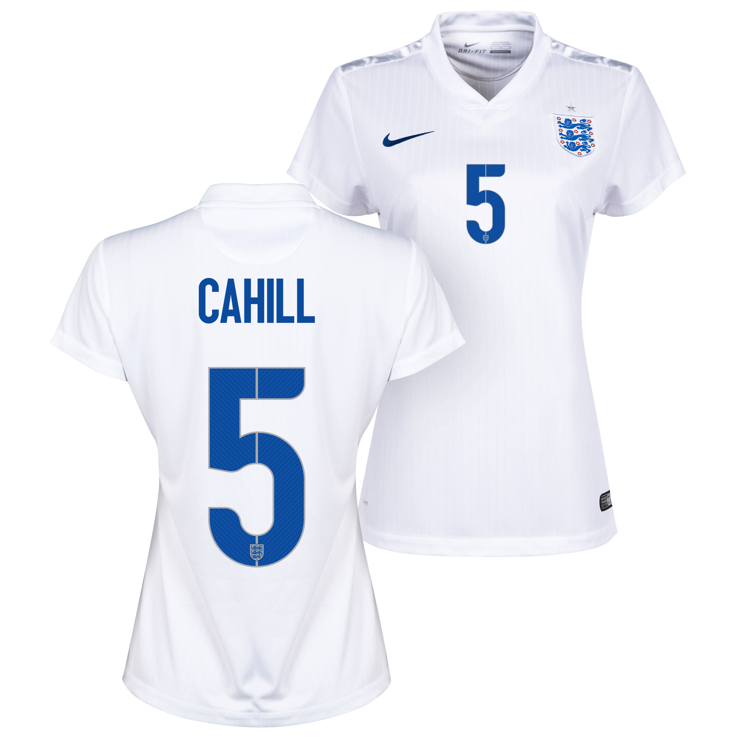 England Home Shirt 2014/15 - Womens White with Cahill 5 printing