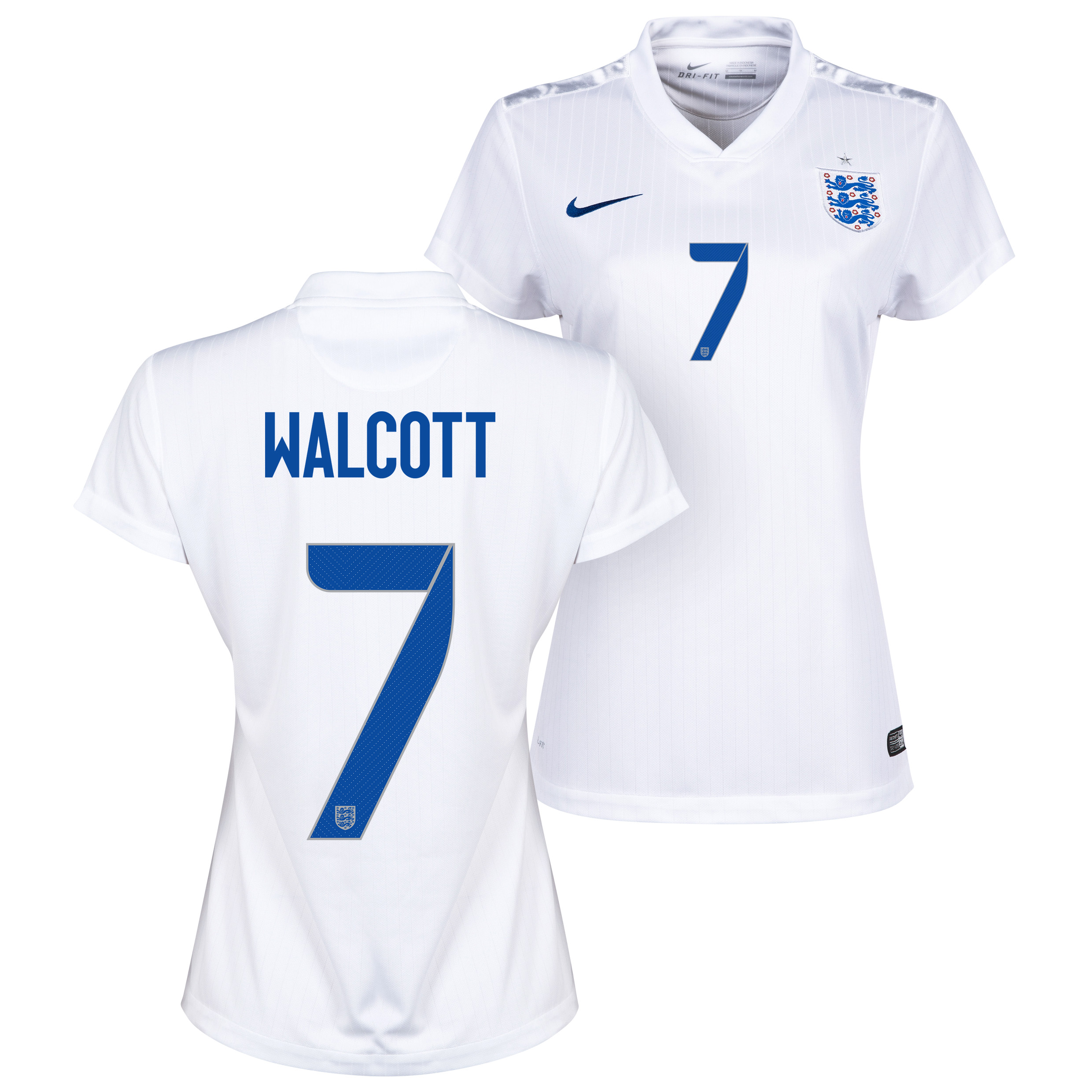 England Home Shirt 2014/15 - Womens White with Walcott 7 printing