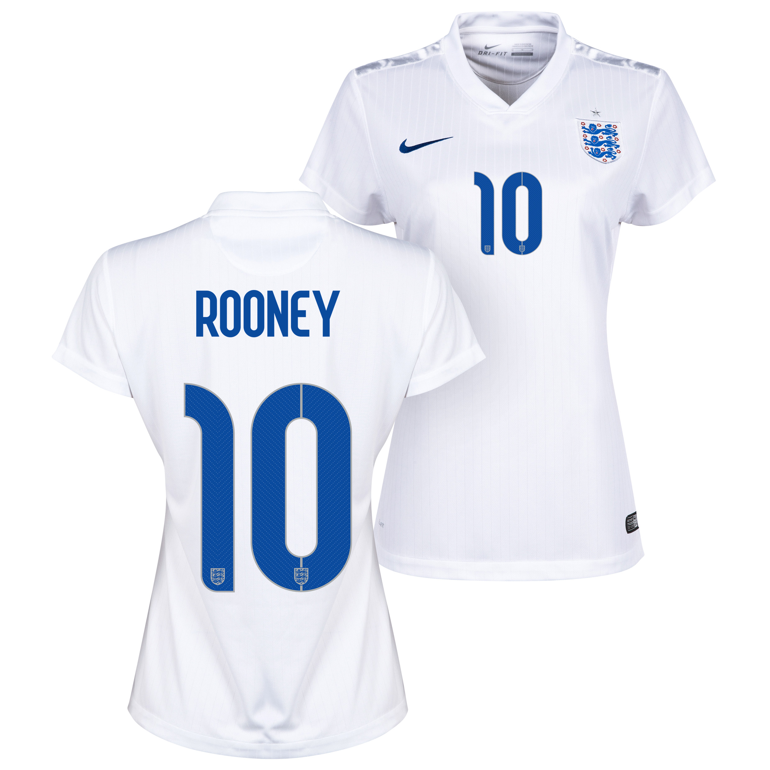England Home Shirt 2014/15 - Womens White with Rooney 10 printing