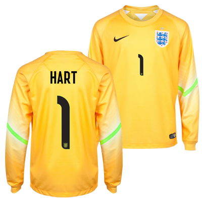 England Home Goalkeeper Shirt 2014/15 - Kids Yellow with Hart 1 printing