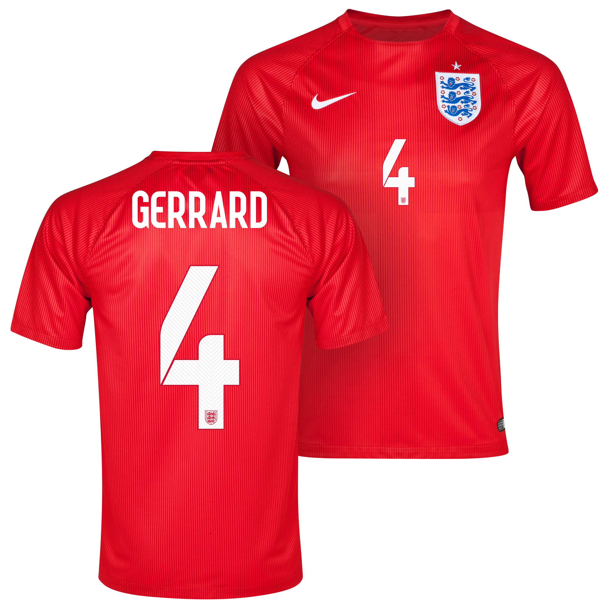 England Away Shirt 2014 Red with Gerrard 4 printing