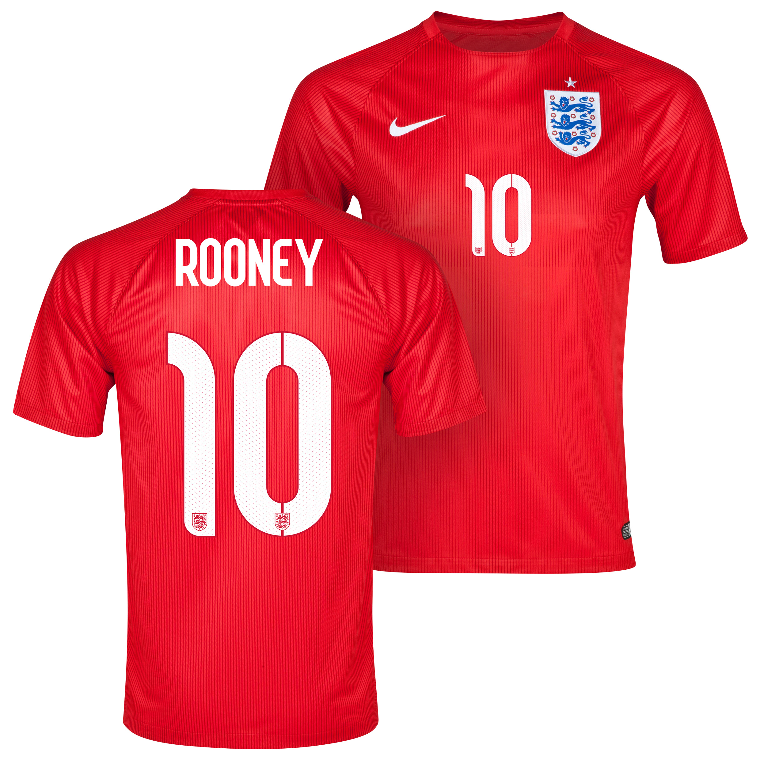 England Away Shirt 2014 - Kids Red with Rooney 10 printing