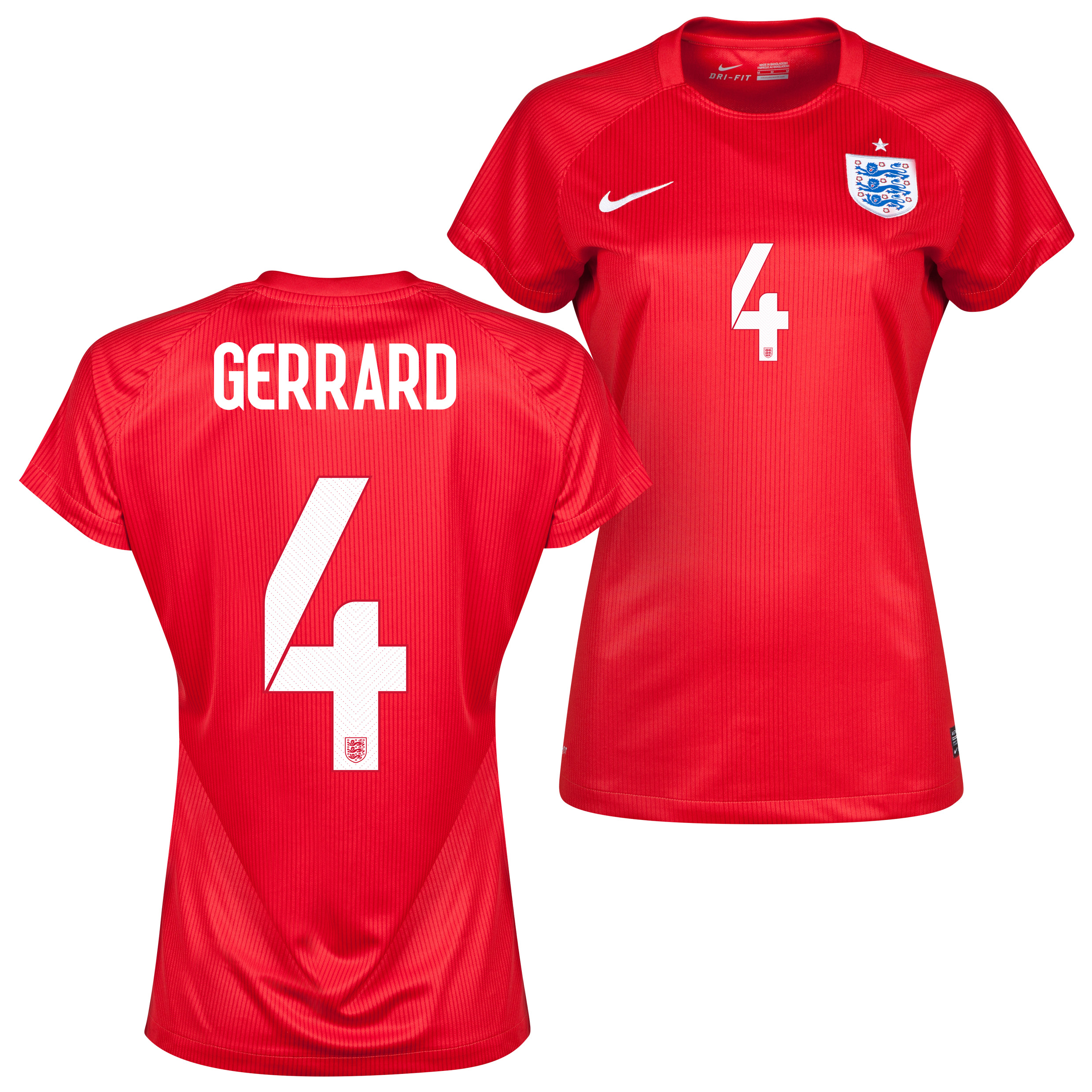 England Away Shirt 2014 - Womens Red with Gerrard 4 printing