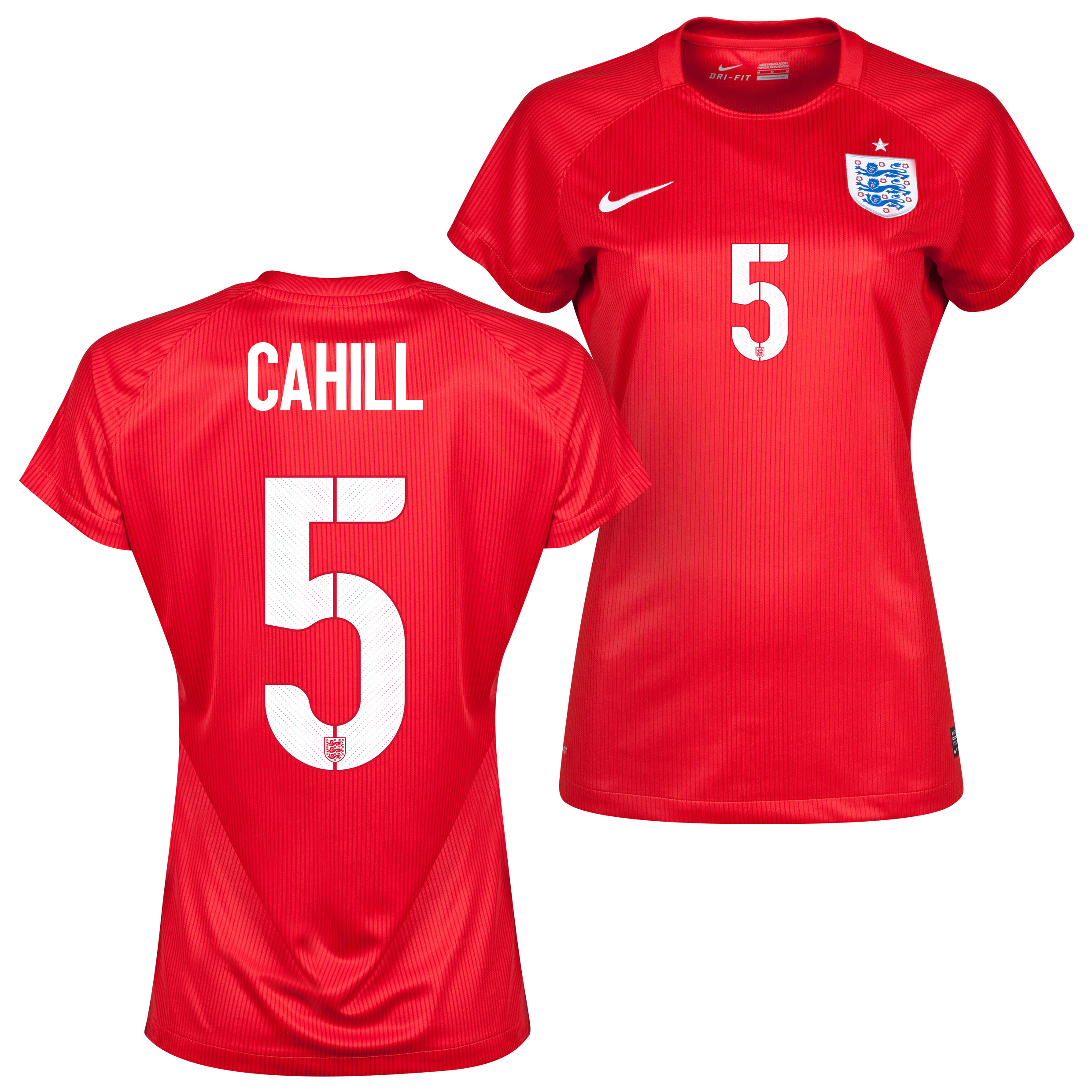 England Away Shirt 2014 - Womens Red with Cahill 5 printing