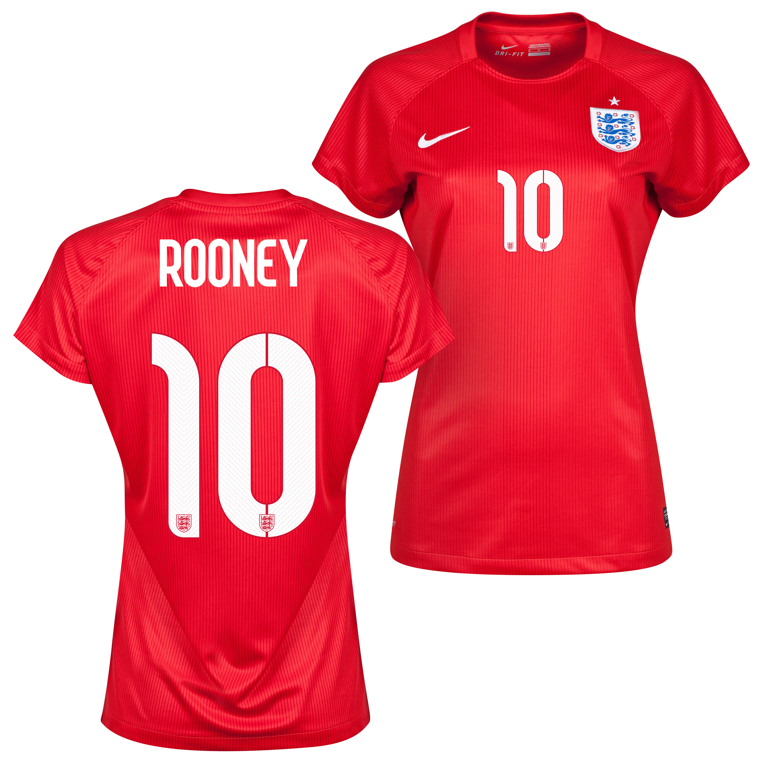 England Away Shirt 2014 - Womens Red with Rooney 10 printing