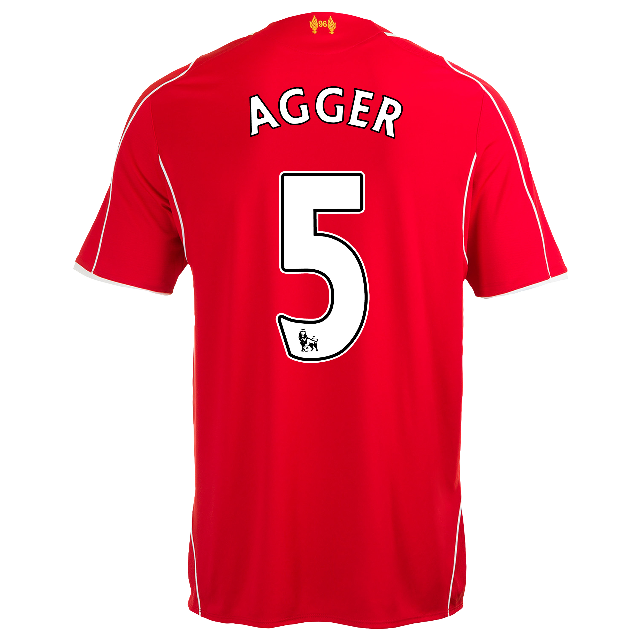 Liverpool Home Shirt 2014/15 Kids Red with Agger 5 printing, Red