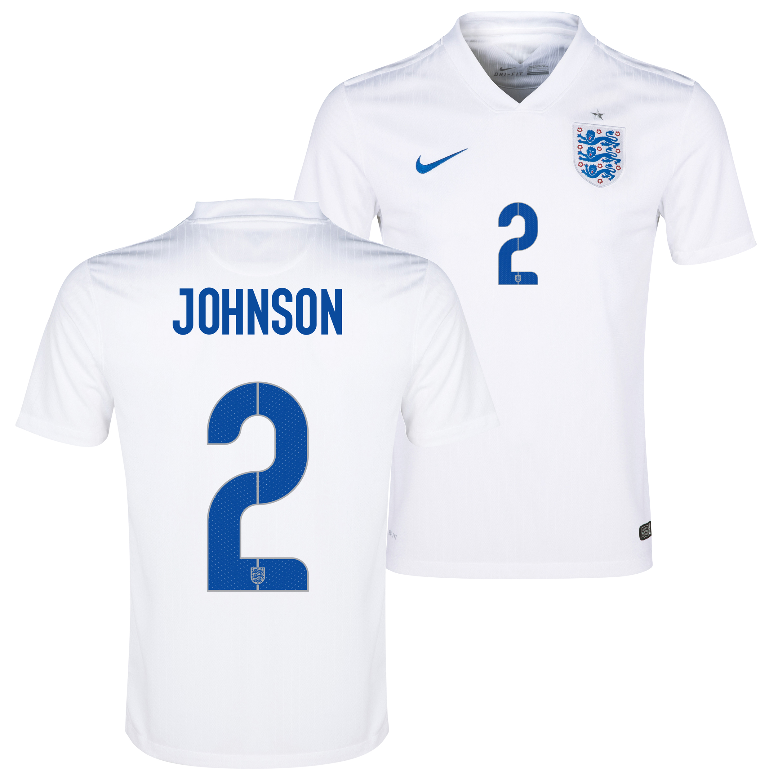 England Match Home Shirt 2014/15 White with Johnson 2 printing