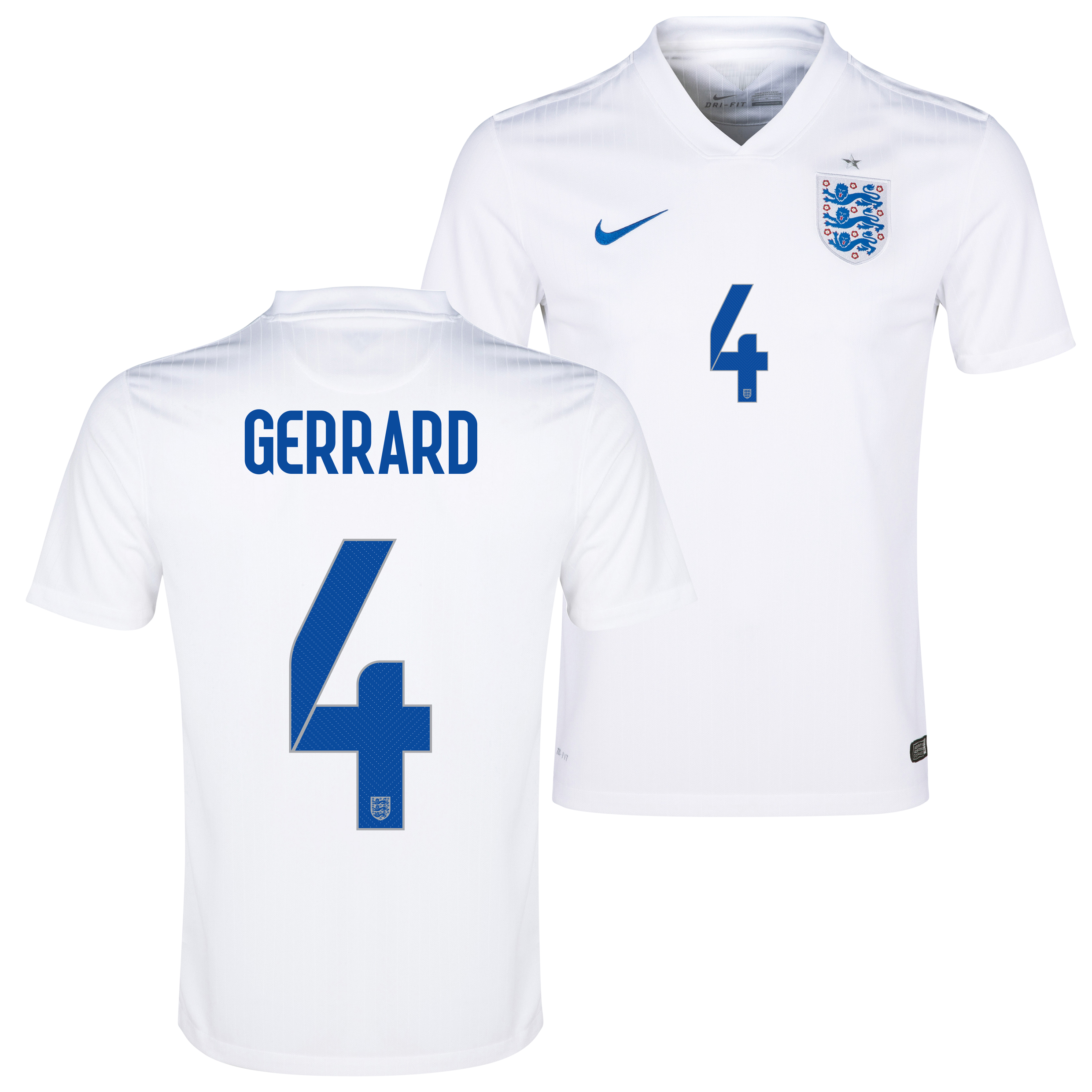 England Match Home Shirt 2014/15 White with Gerrard 4 printing
