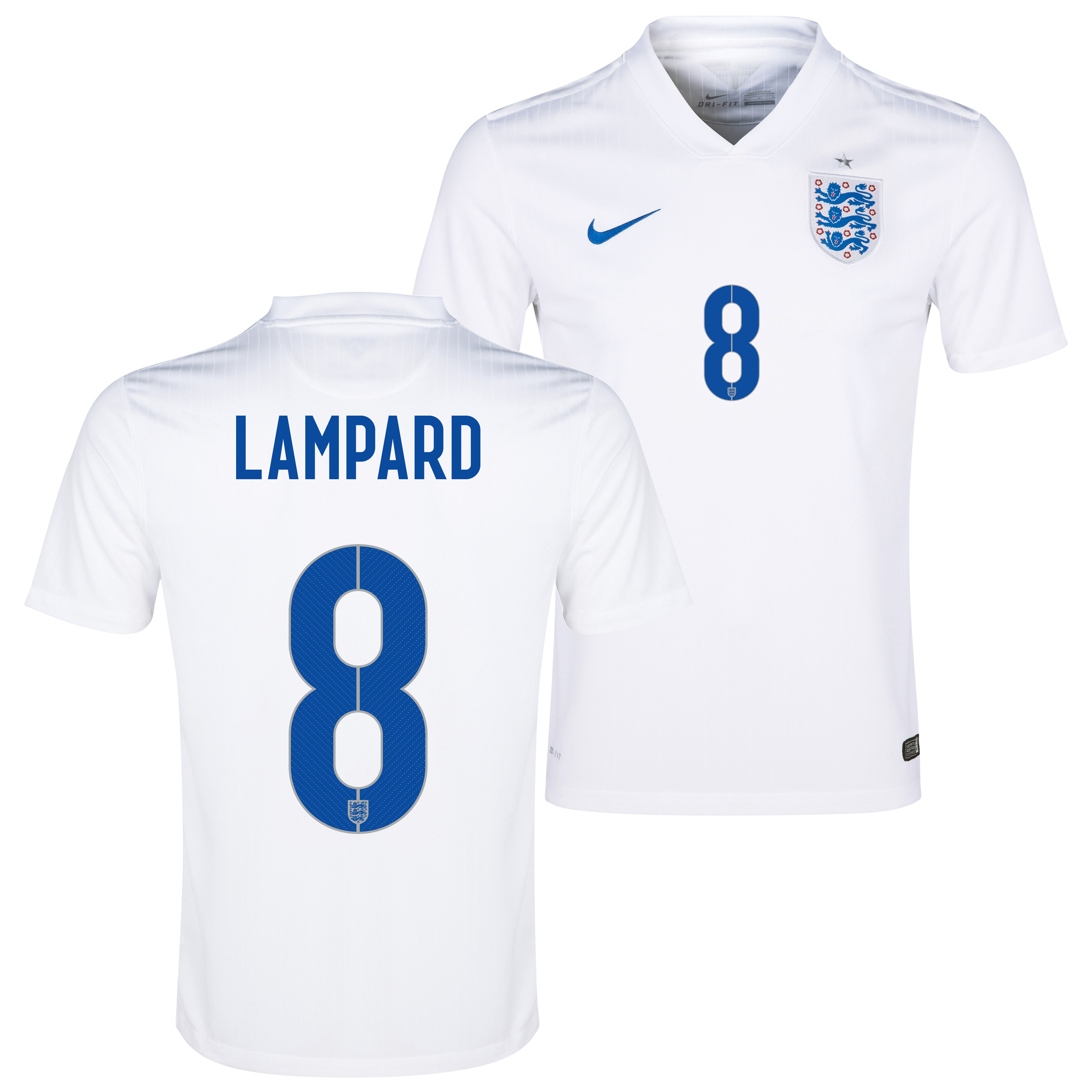 England Match Home Shirt 2014/15 White with Lampard 8 printing