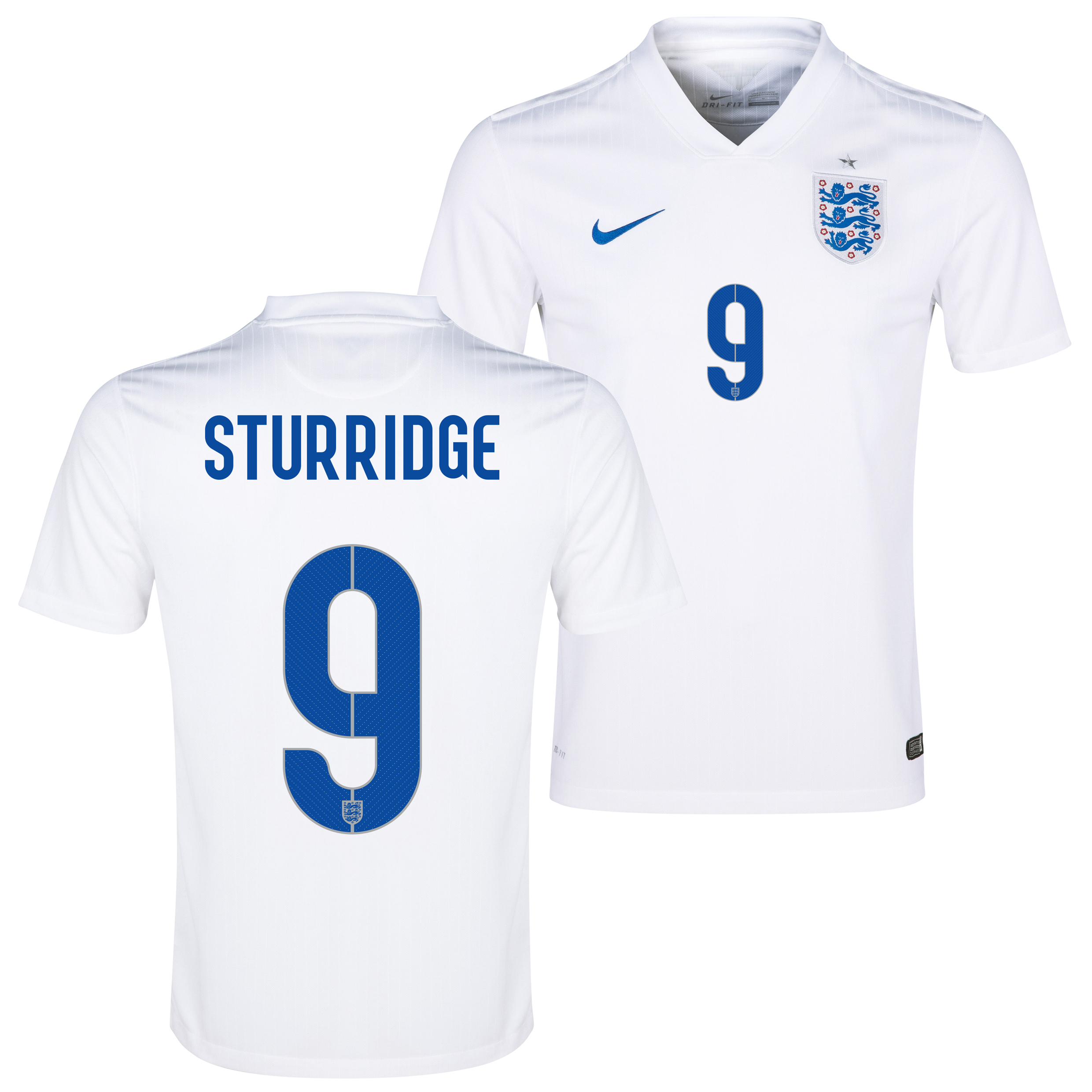 England Match Home Shirt 2014/15 White with Sturridge 9 printing