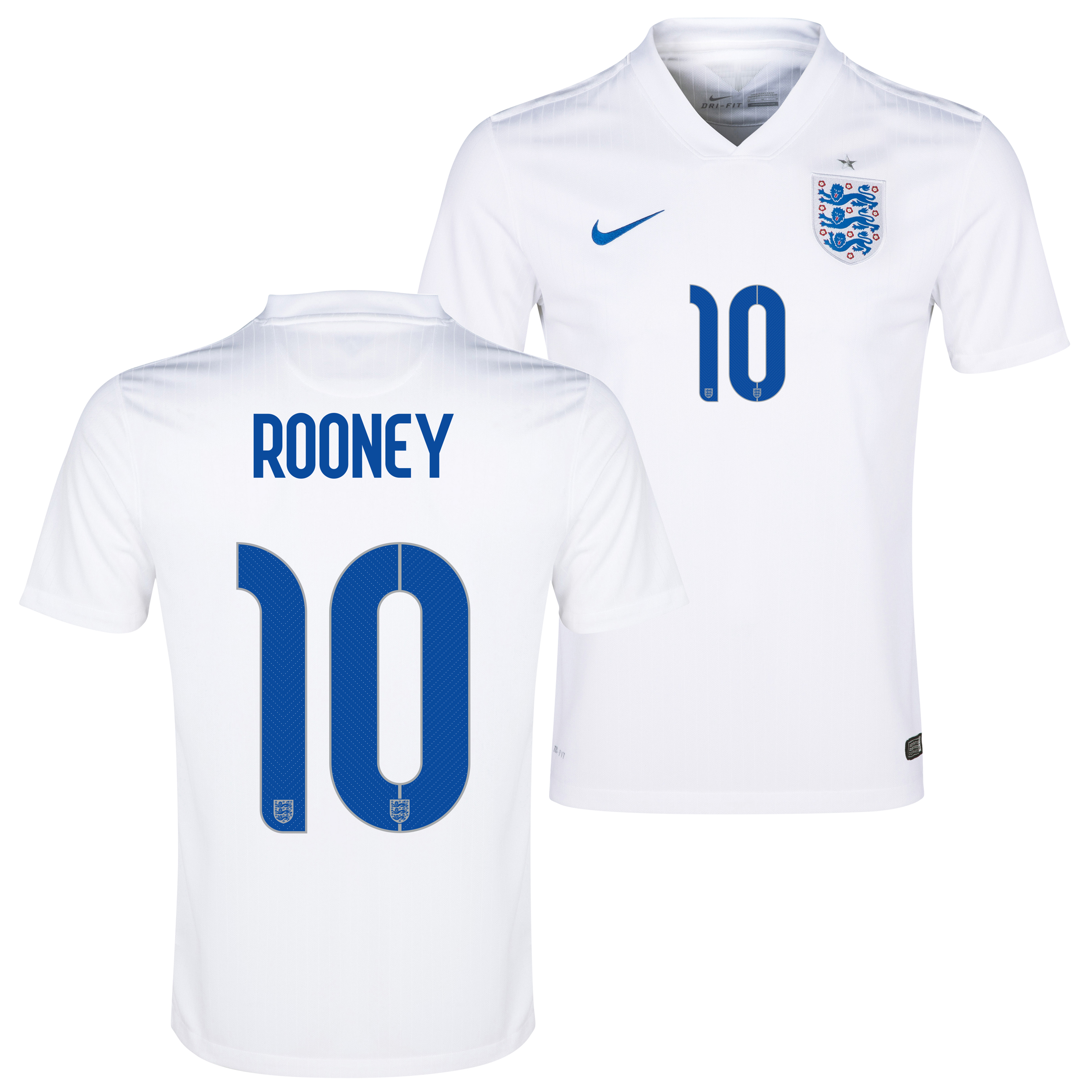 England Match Home Shirt 2014/15 White with Rooney 10 printing