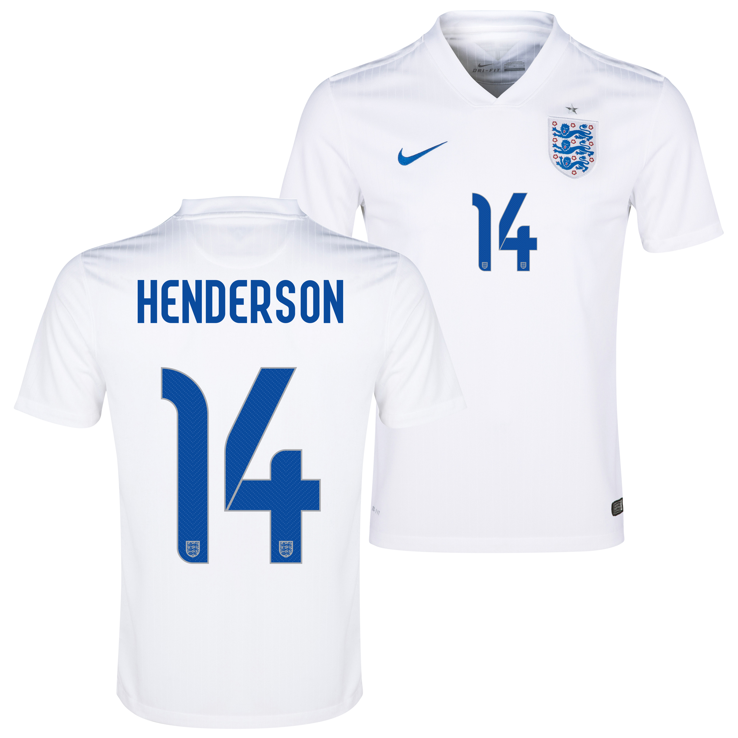 England Match Home Shirt 2014/15 White with Henderson 14 printing